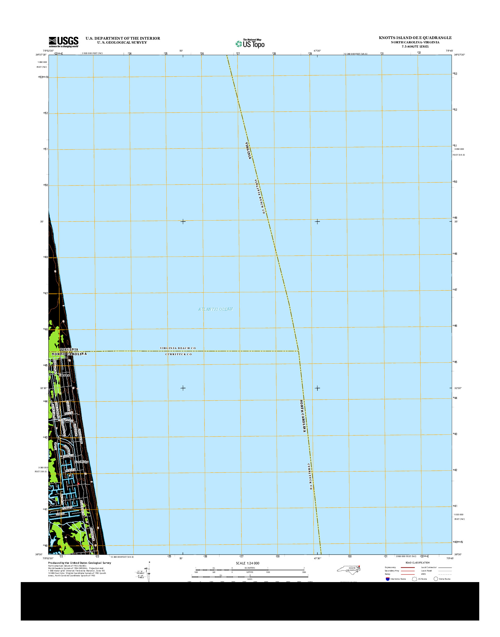 USGS US TOPO 7.5-MINUTE MAP FOR KNOTTS ISLAND OE E, NC-VA 2013