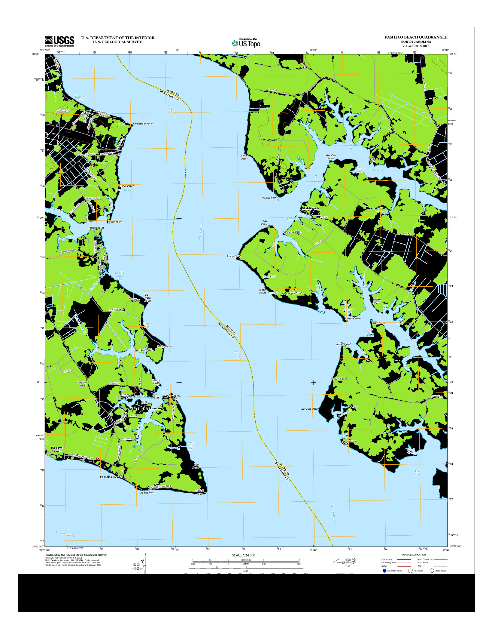 USGS US TOPO 7.5-MINUTE MAP FOR PAMLICO BEACH, NC 2013