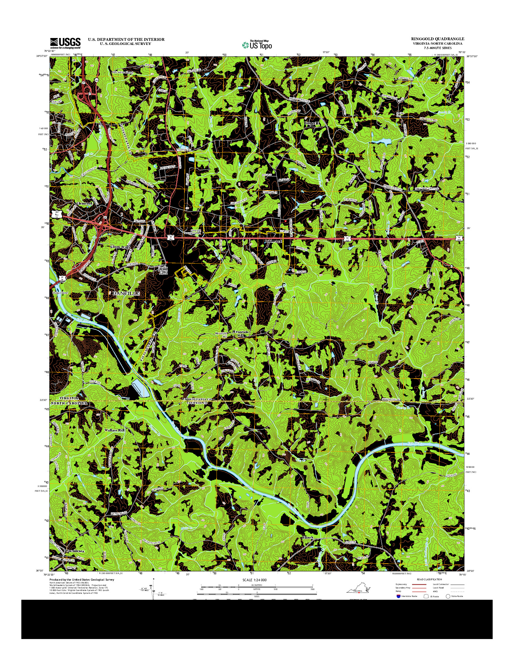 USGS US TOPO 7.5-MINUTE MAP FOR RINGGOLD, VA-NC 2013