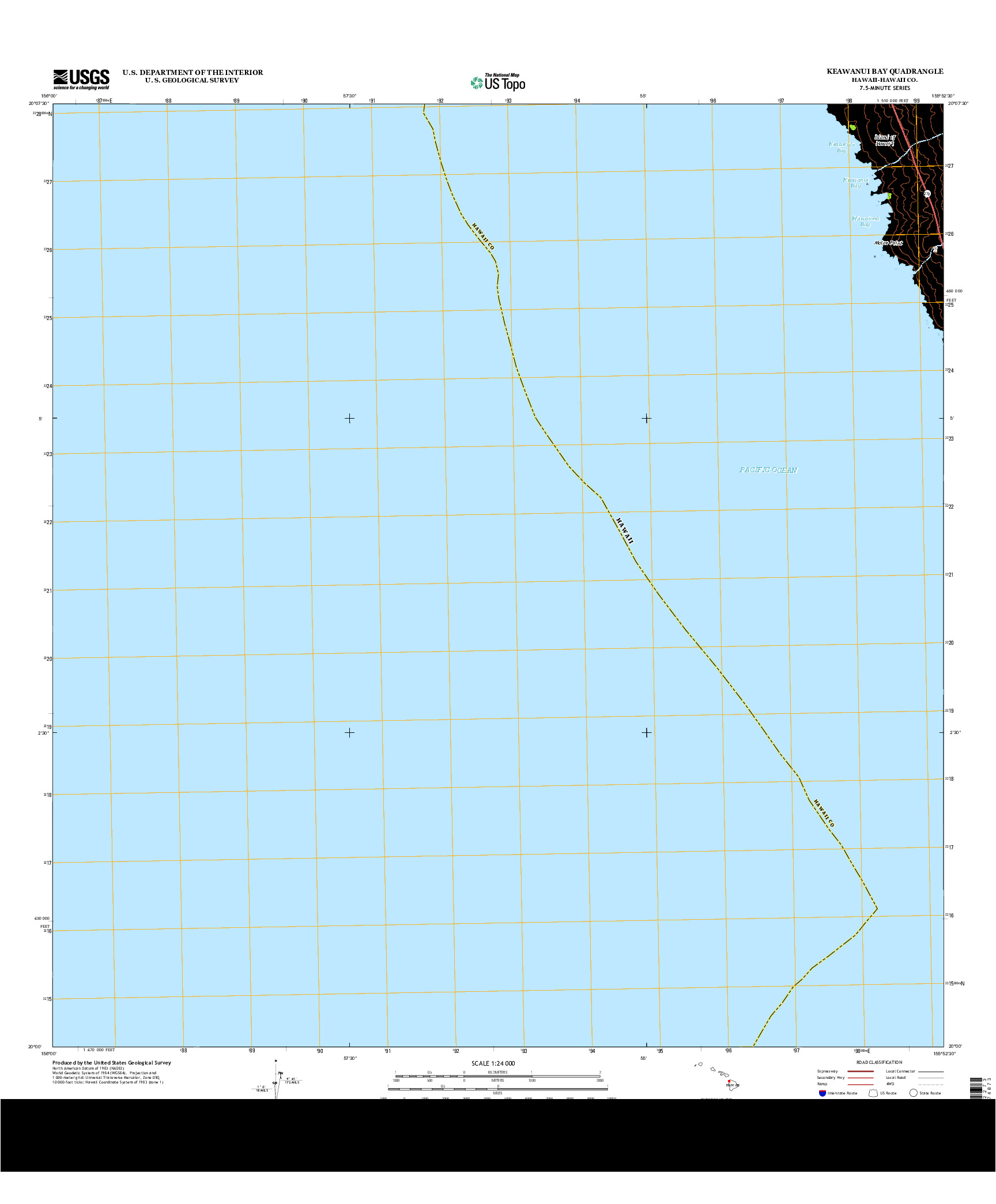 USGS US TOPO 7.5-MINUTE MAP FOR KEAWANUI BAY, HI 2013