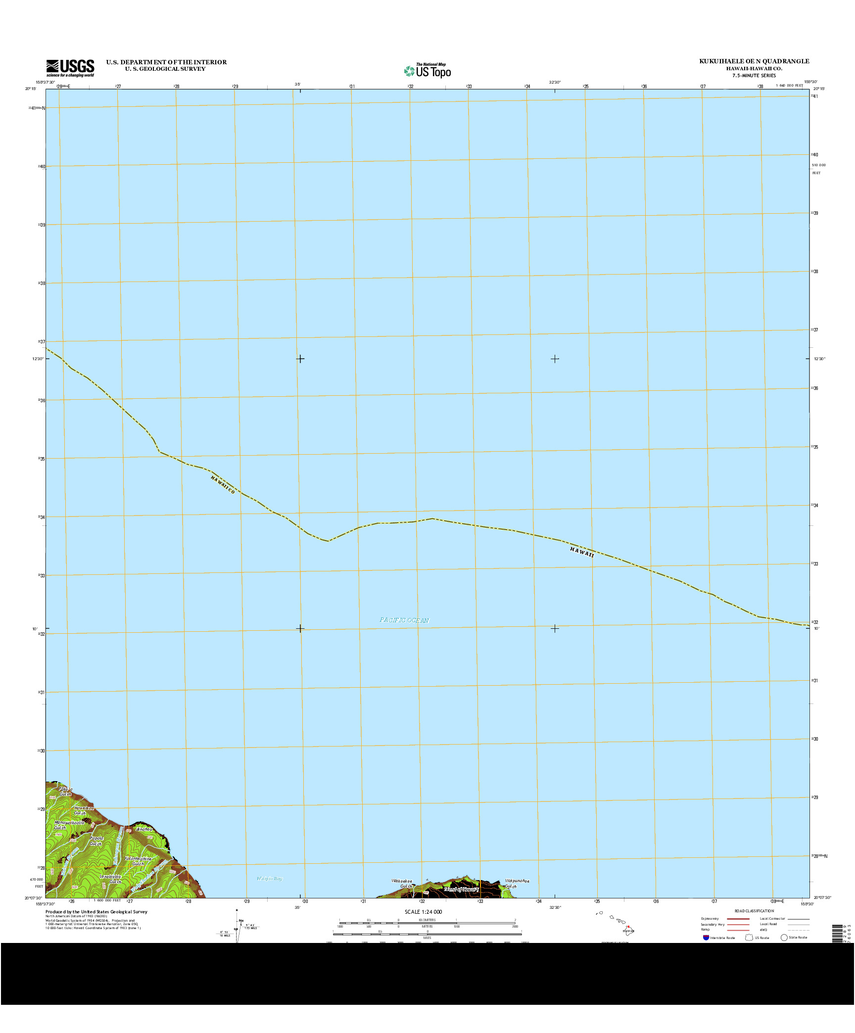 USGS US TOPO 7.5-MINUTE MAP FOR KUKUIHAELE OE N, HI 2013