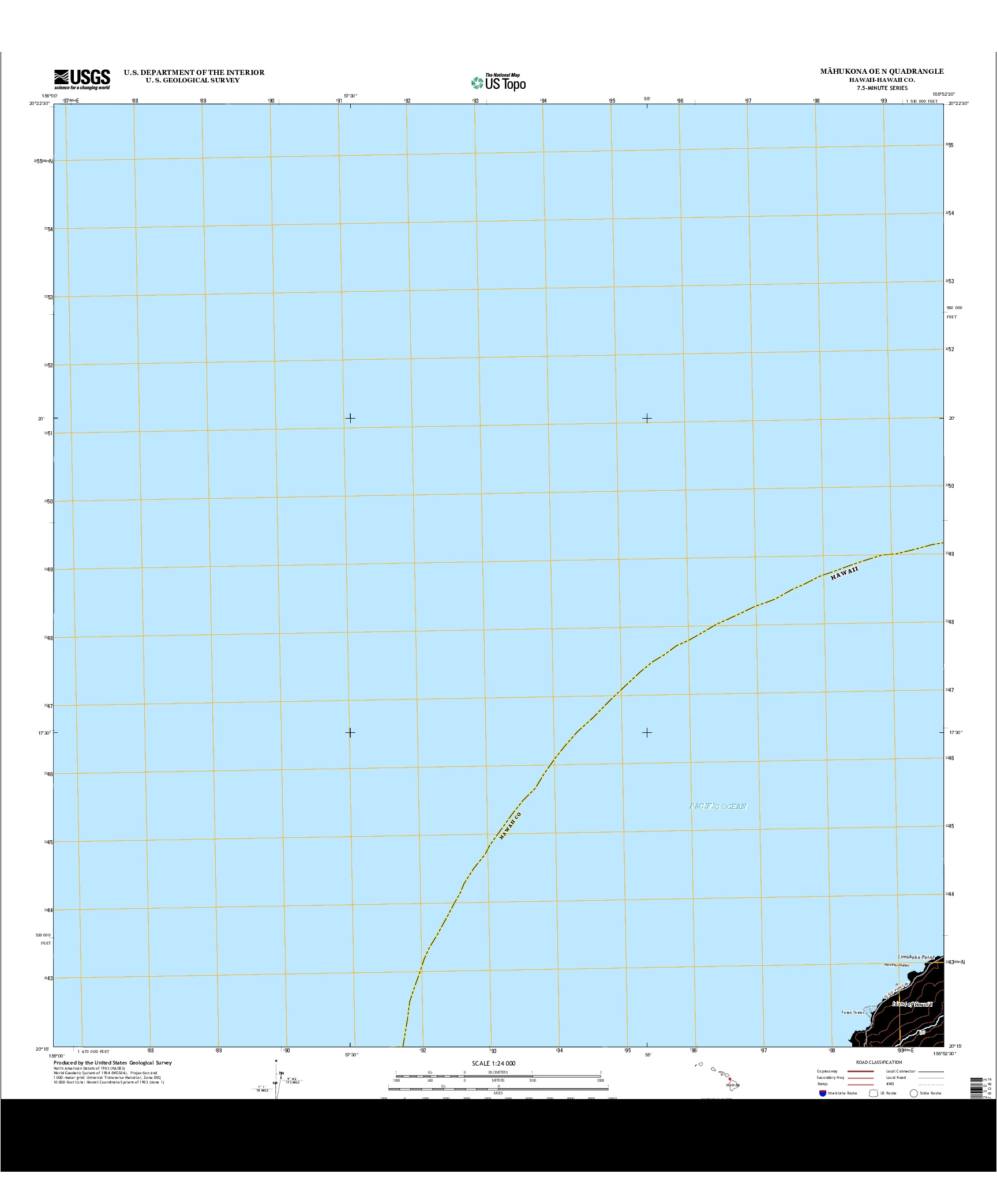 USGS US TOPO 7.5-MINUTE MAP FOR MAHUKONA OE N, HI 2013