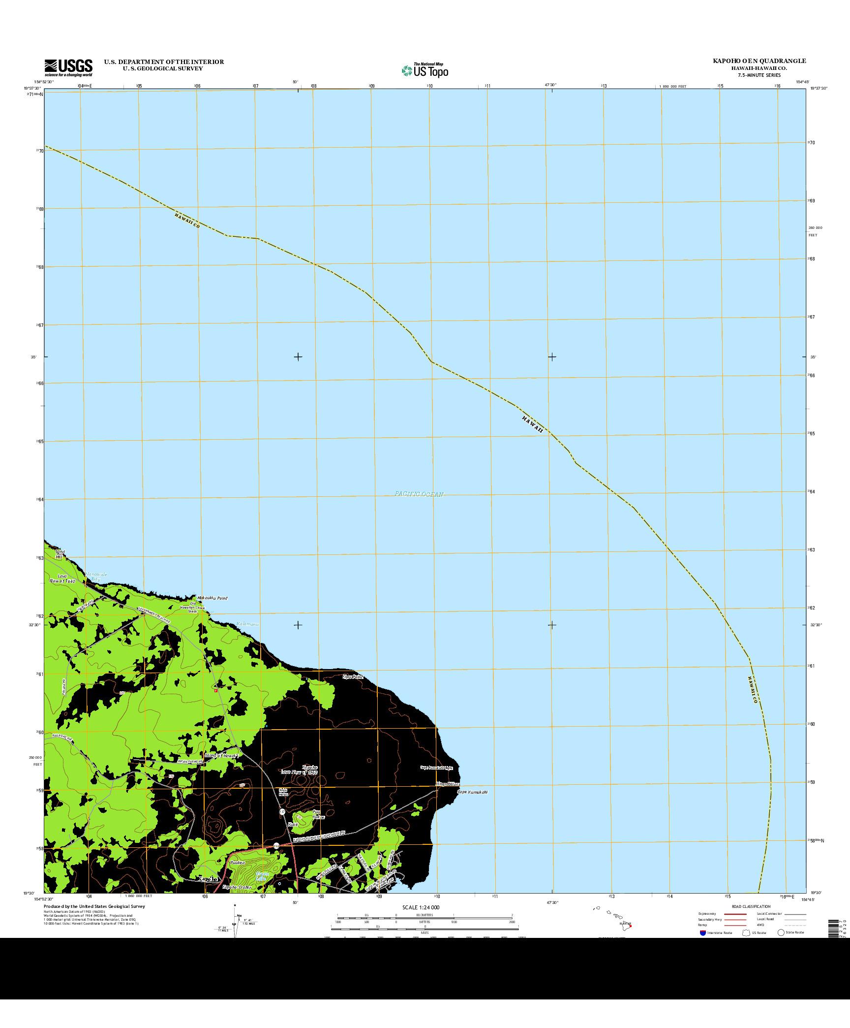 USGS US TOPO 7.5-MINUTE MAP FOR KAPOHO OE N, HI 2013
