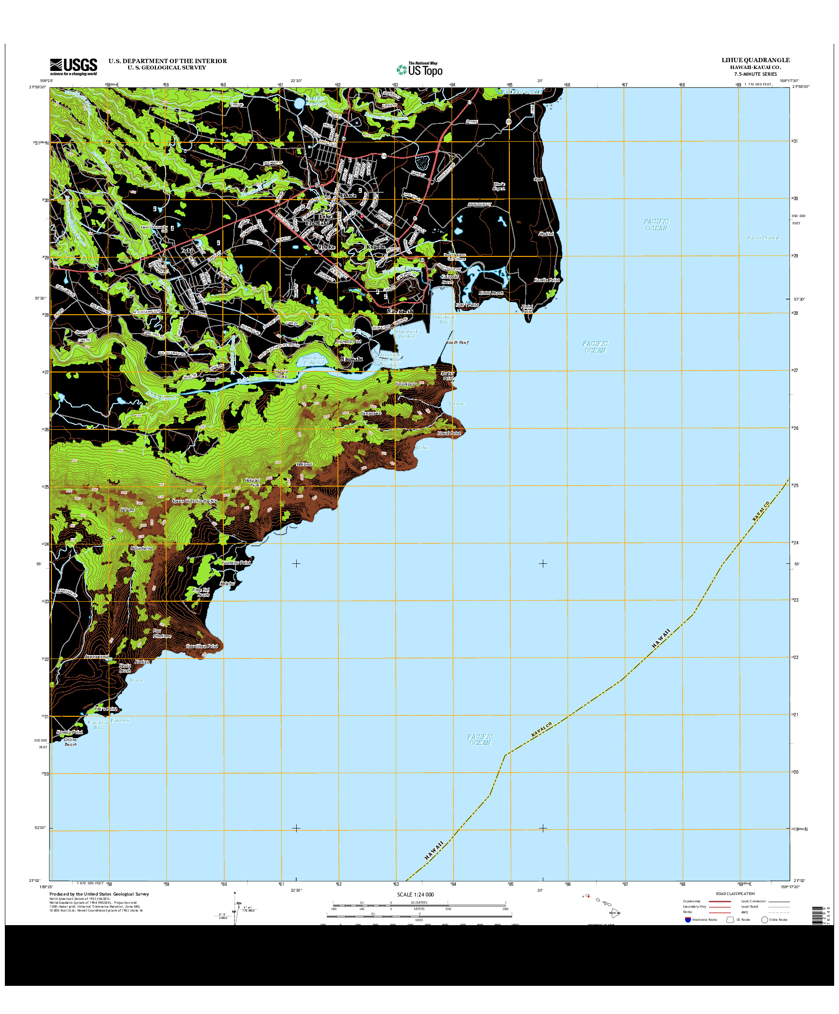 USGS US TOPO 7.5-MINUTE MAP FOR LIHUE, HI 2013