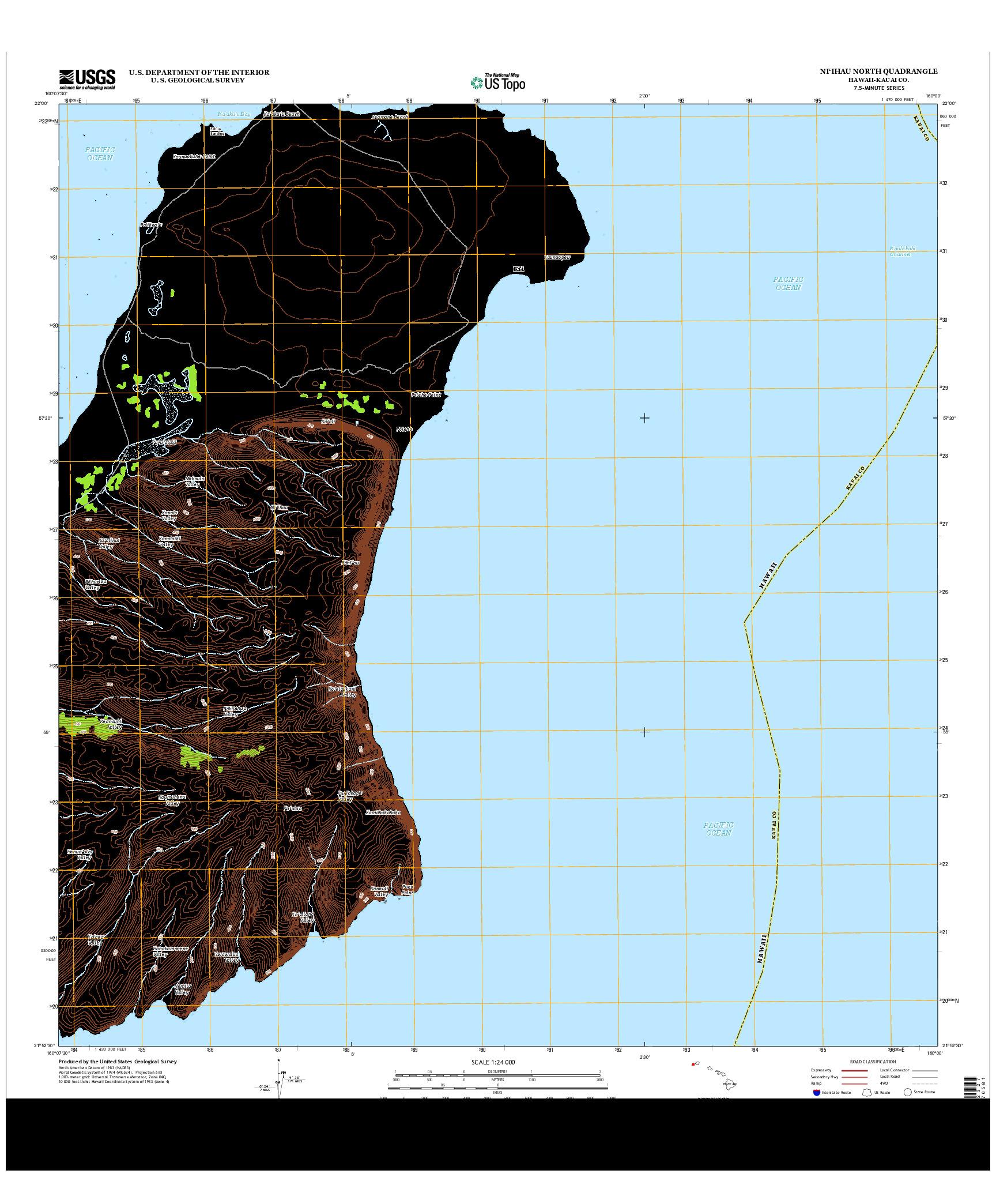 USGS US TOPO 7.5-MINUTE MAP FOR NI`IHAU NORTH, HI 2013