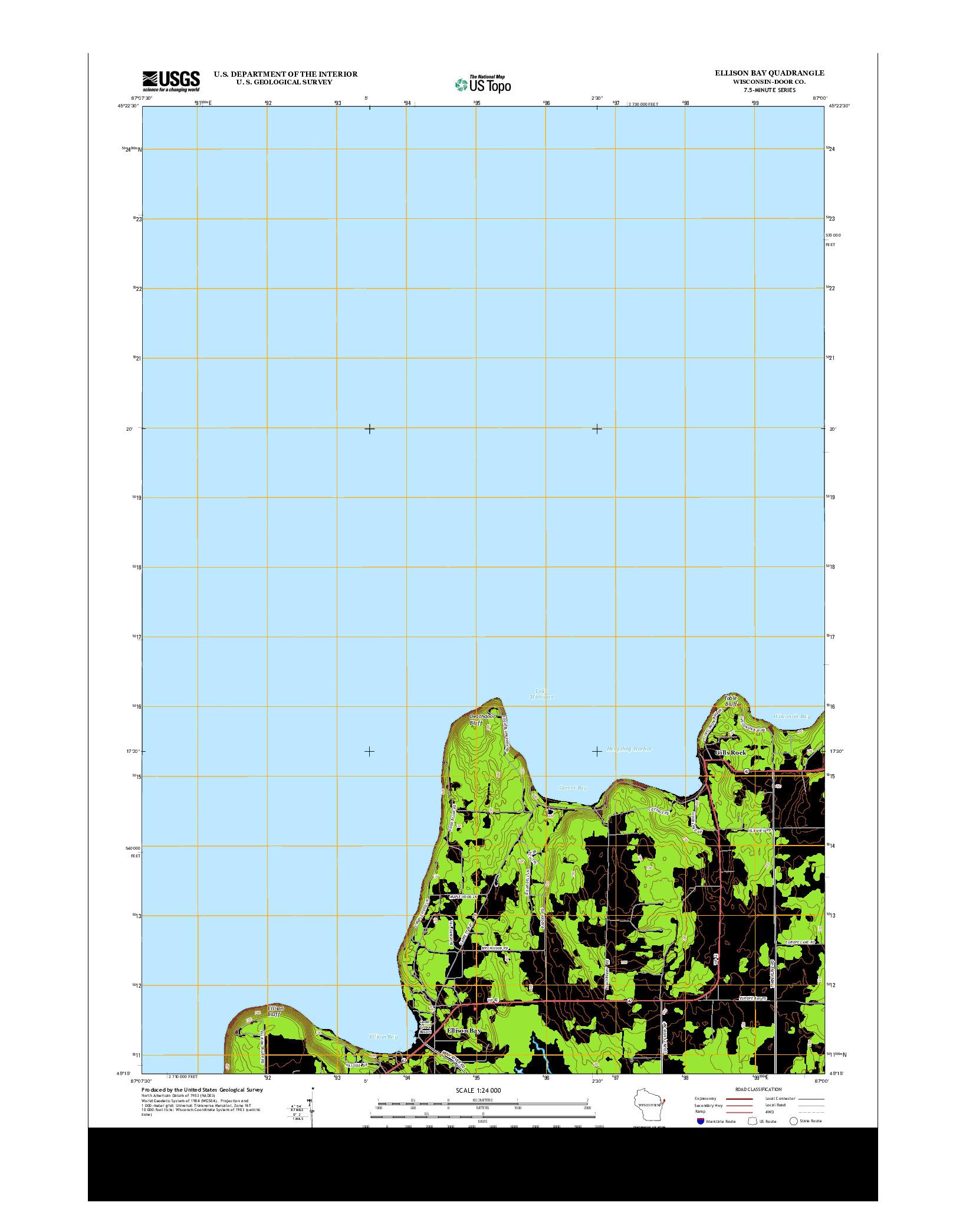 USGS US TOPO 7.5-MINUTE MAP FOR ELLISON BAY, WI 2013