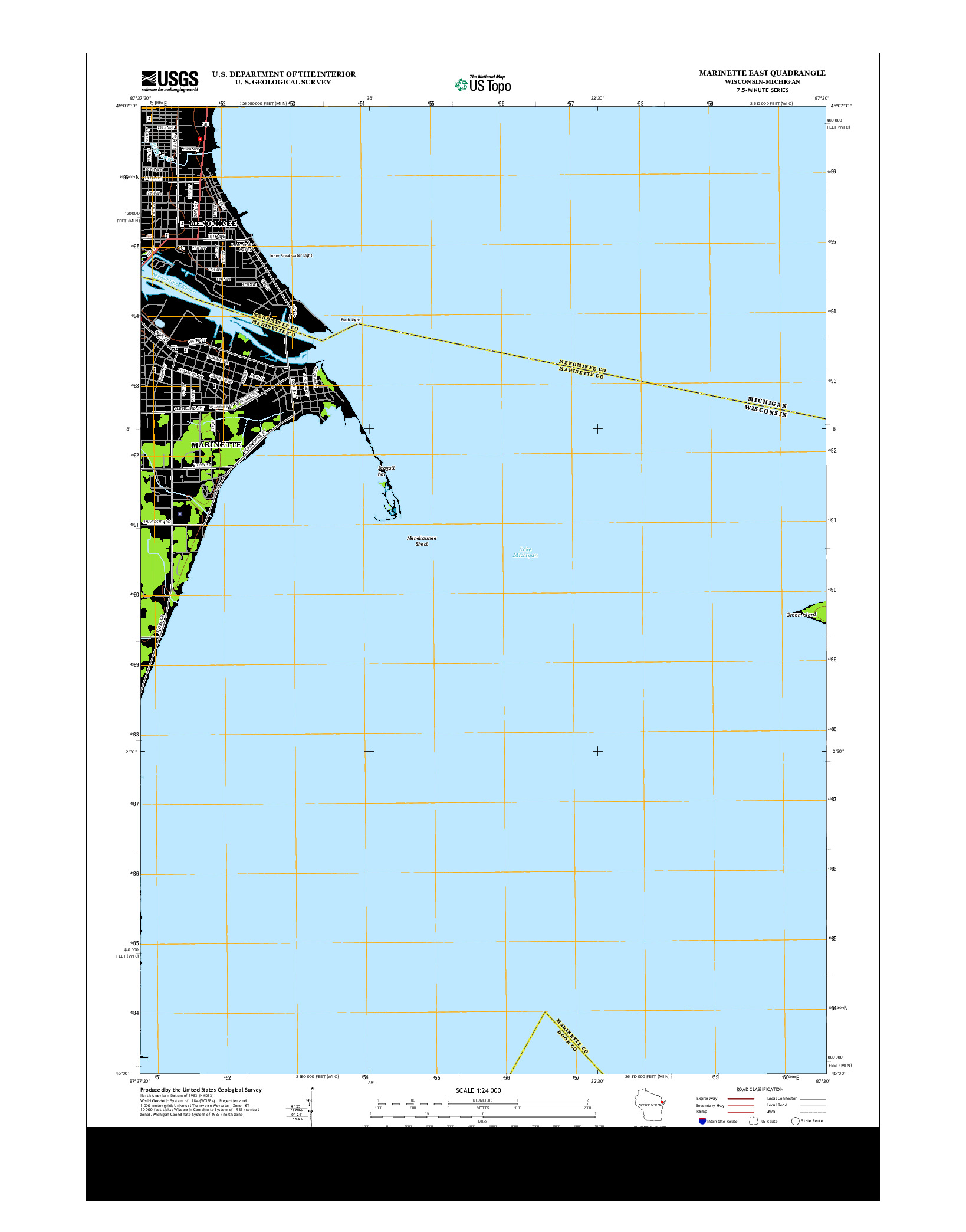USGS US TOPO 7.5-MINUTE MAP FOR MARINETTE EAST, WI-MI 2013