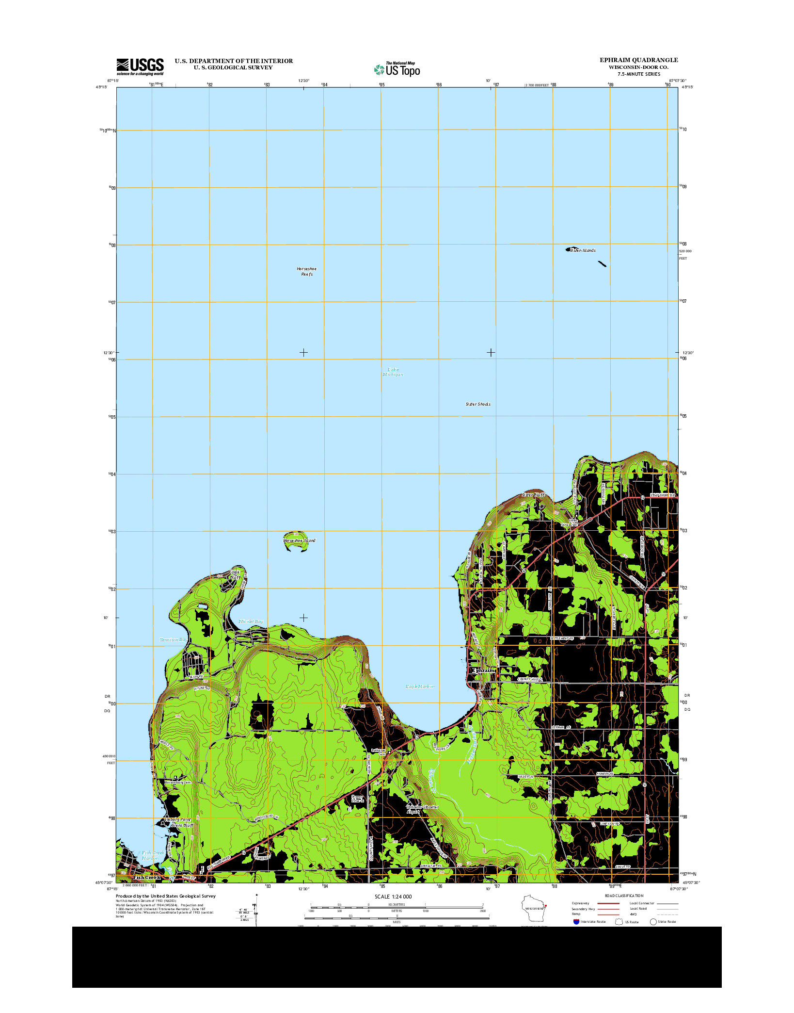 USGS US TOPO 7.5-MINUTE MAP FOR EPHRAIM, WI 2013