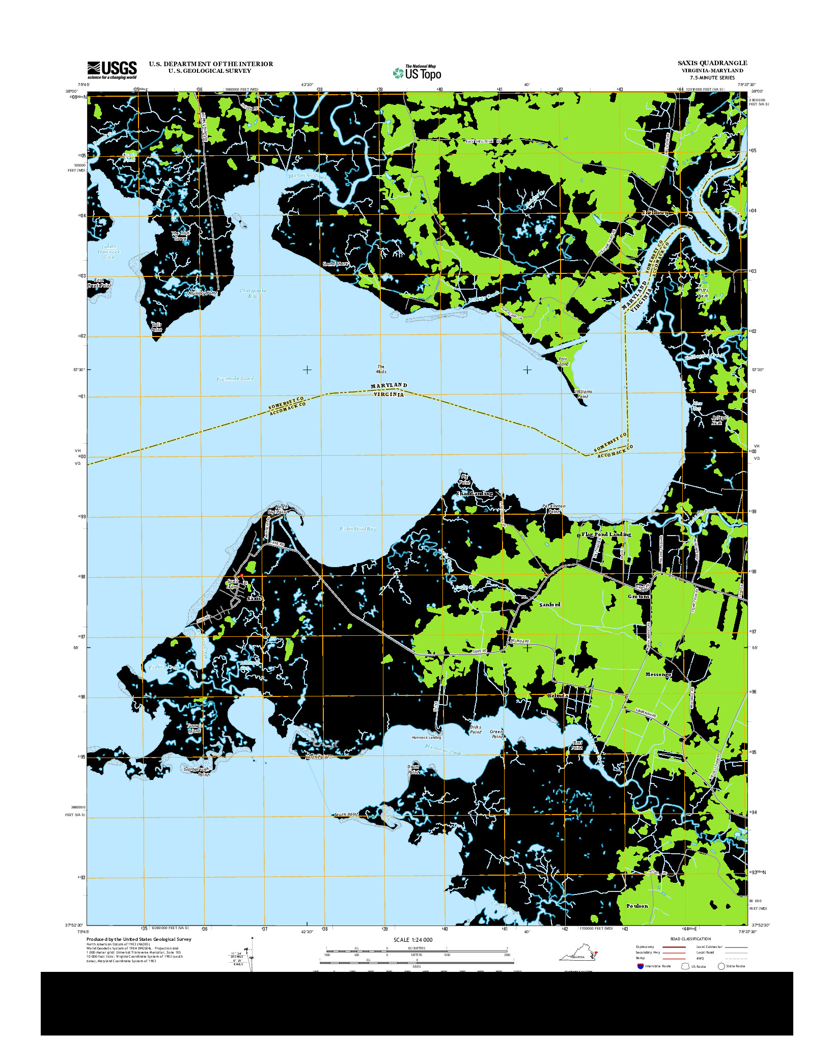 USGS US TOPO 7.5-MINUTE MAP FOR SAXIS, VA-MD 2013