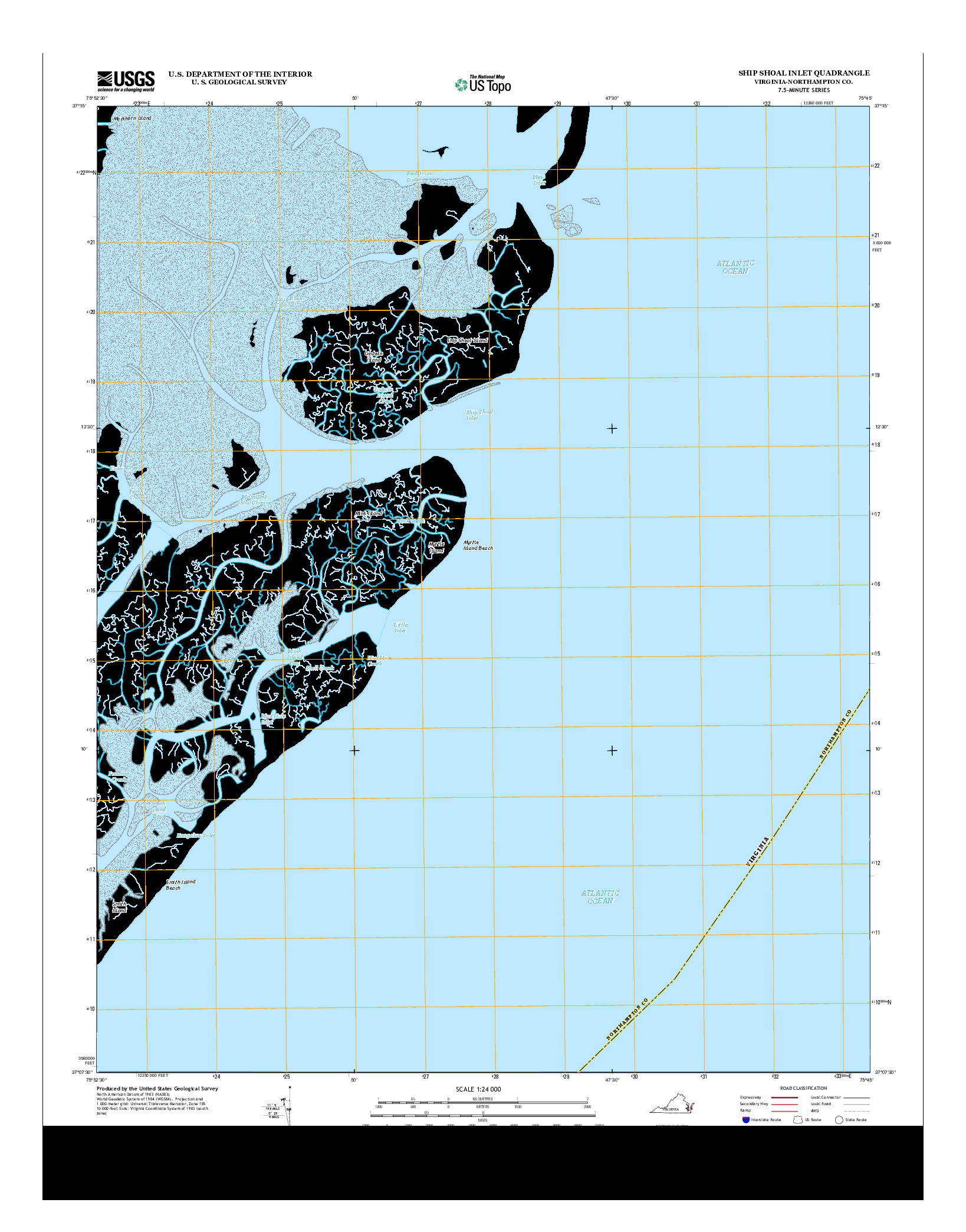 USGS US TOPO 7.5-MINUTE MAP FOR SHIP SHOAL INLET, VA 2013