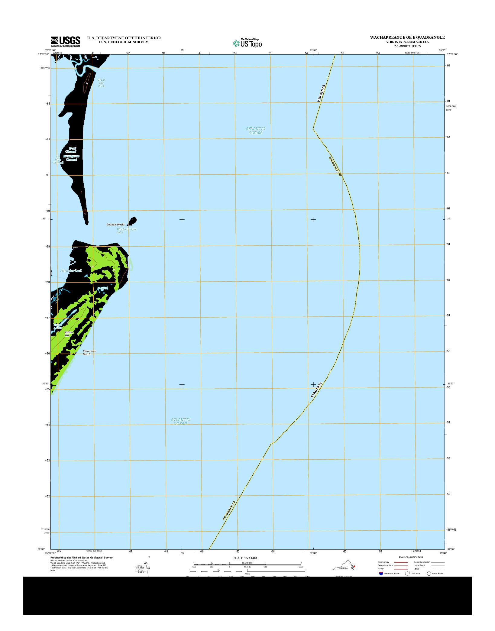 USGS US TOPO 7.5-MINUTE MAP FOR WACHAPREAGUE OE E, VA 2013