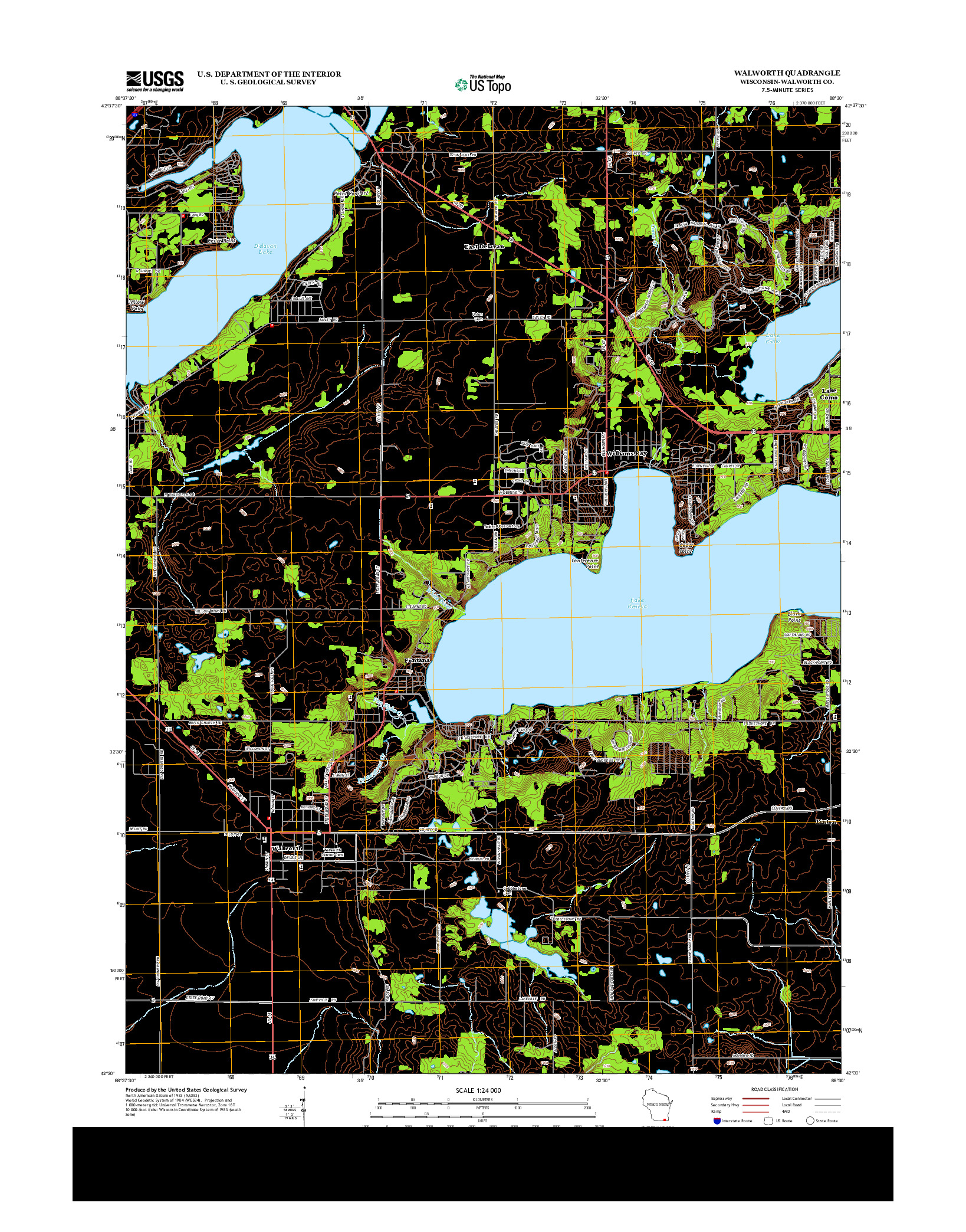 USGS US TOPO 7.5-MINUTE MAP FOR WALWORTH, WI 2013