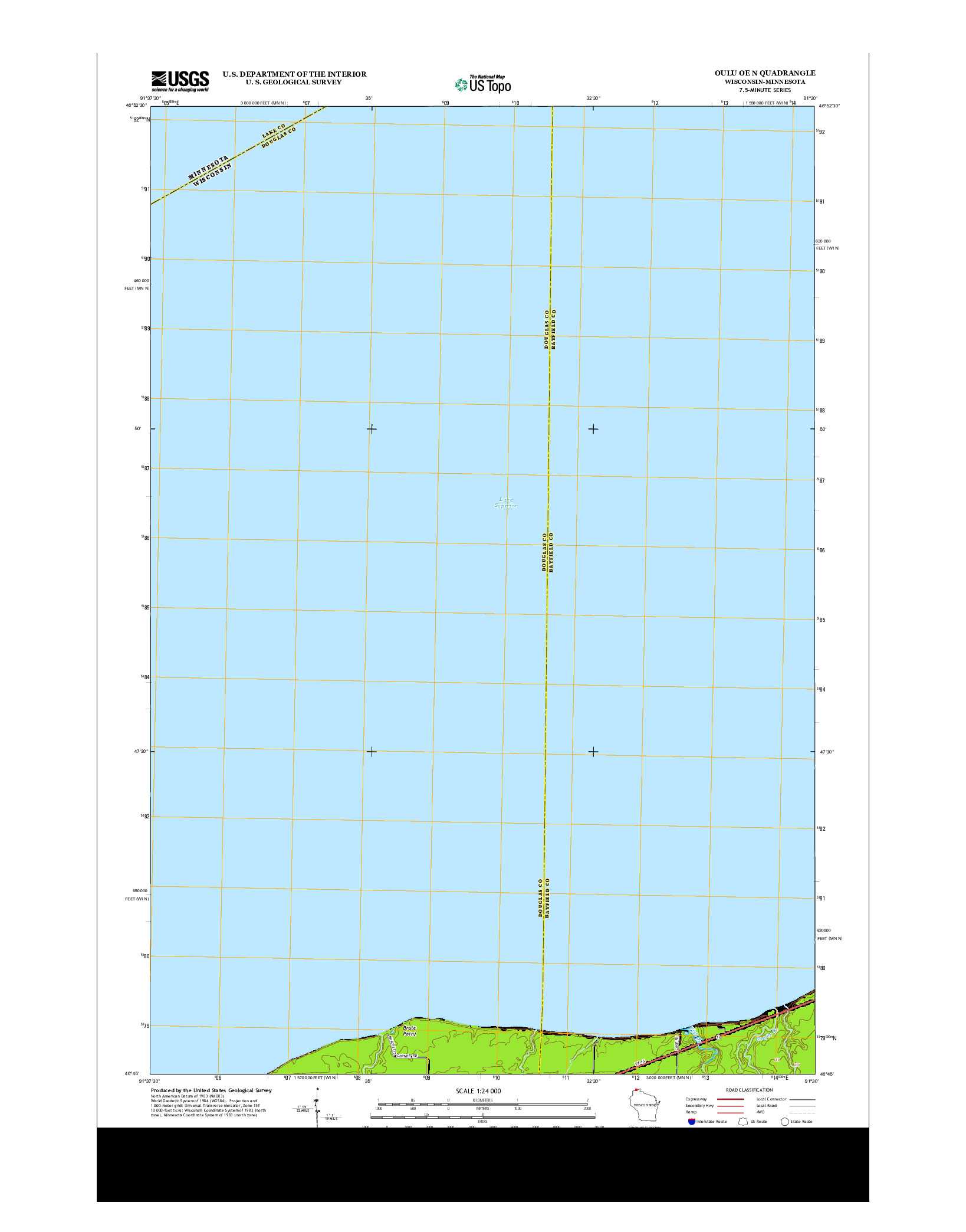 USGS US TOPO 7.5-MINUTE MAP FOR OULU OE N, WI-MN 2013