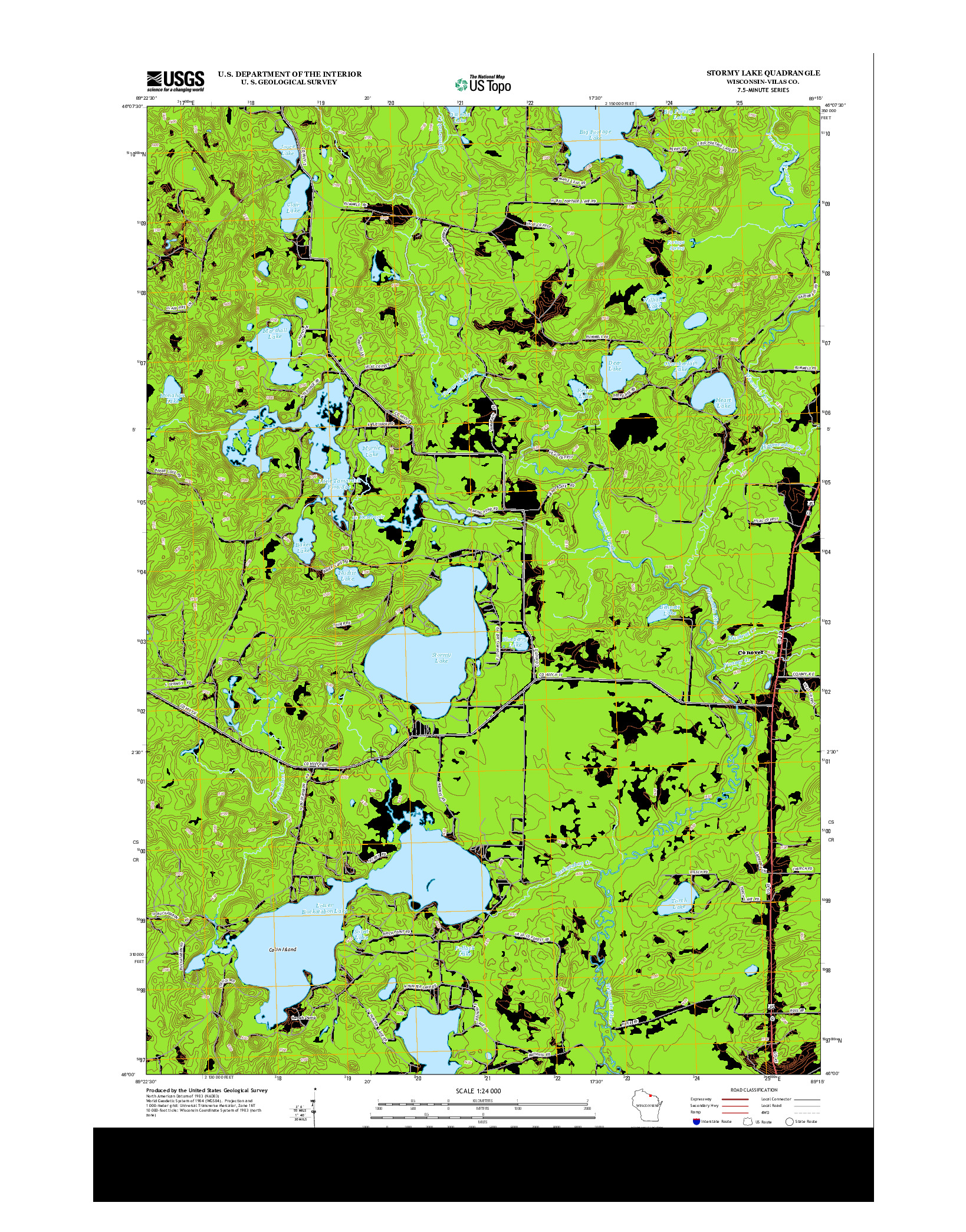 USGS US TOPO 7.5-MINUTE MAP FOR STORMY LAKE, WI 2013