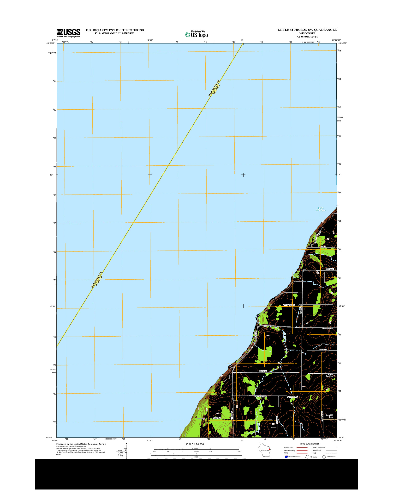 USGS US TOPO 7.5-MINUTE MAP FOR LITTLE STURGEON SW, WI 2013