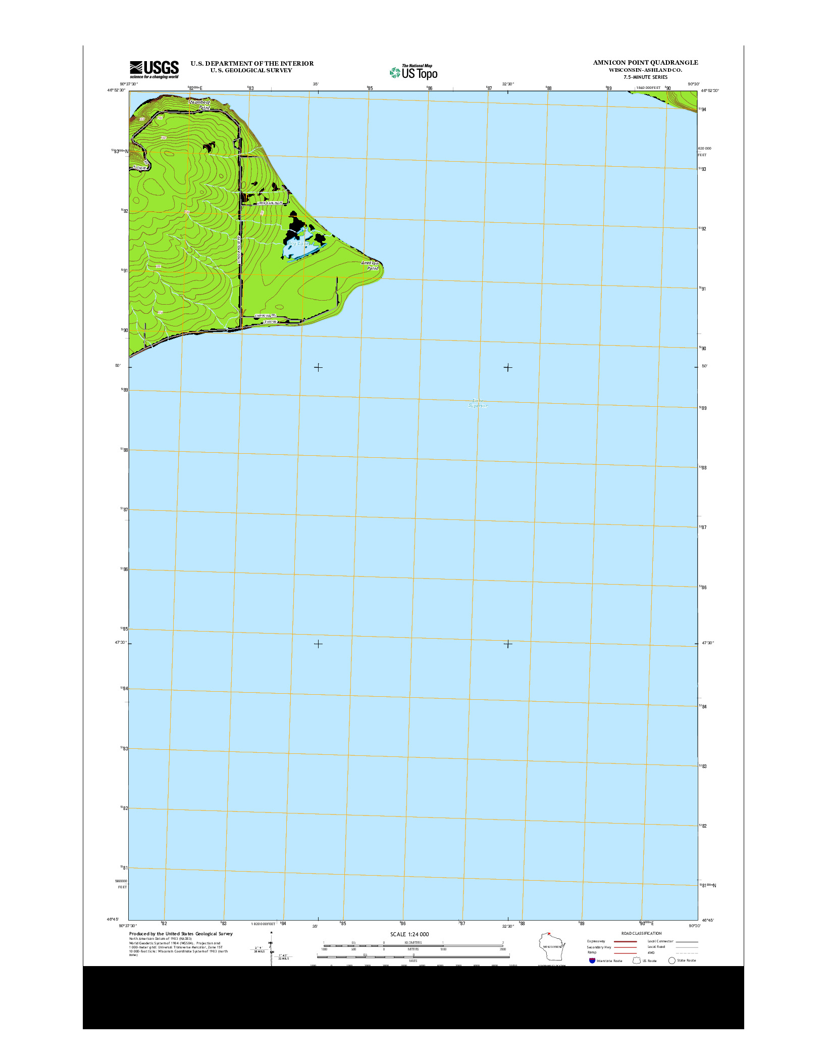 USGS US TOPO 7.5-MINUTE MAP FOR AMNICON POINT, WI 2013