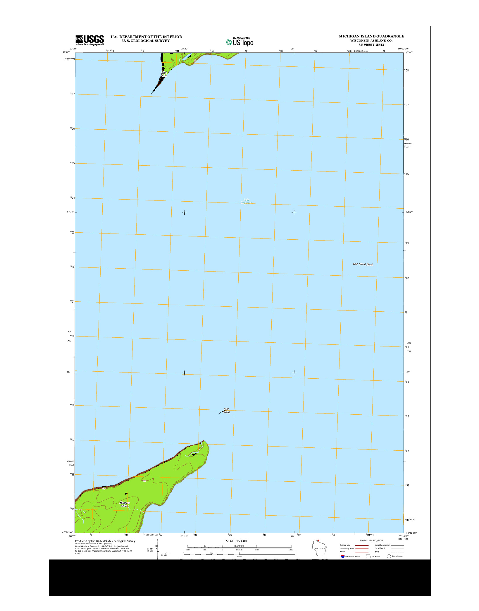 USGS US TOPO 7.5-MINUTE MAP FOR MICHIGAN ISLAND, WI 2013