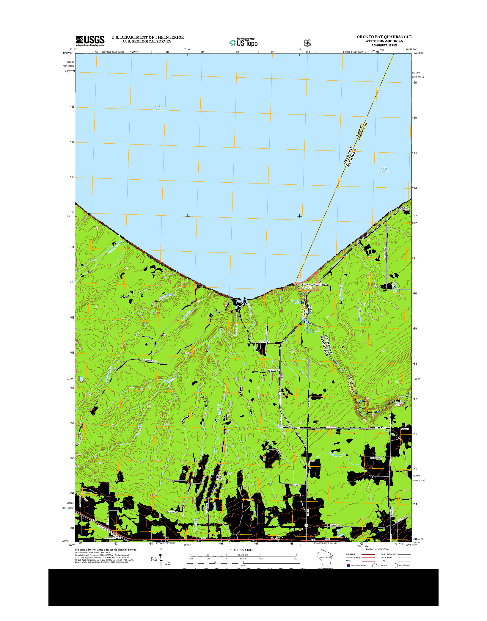 USGS US TOPO 7.5-MINUTE MAP FOR ORONTO BAY, WI-MI 2013