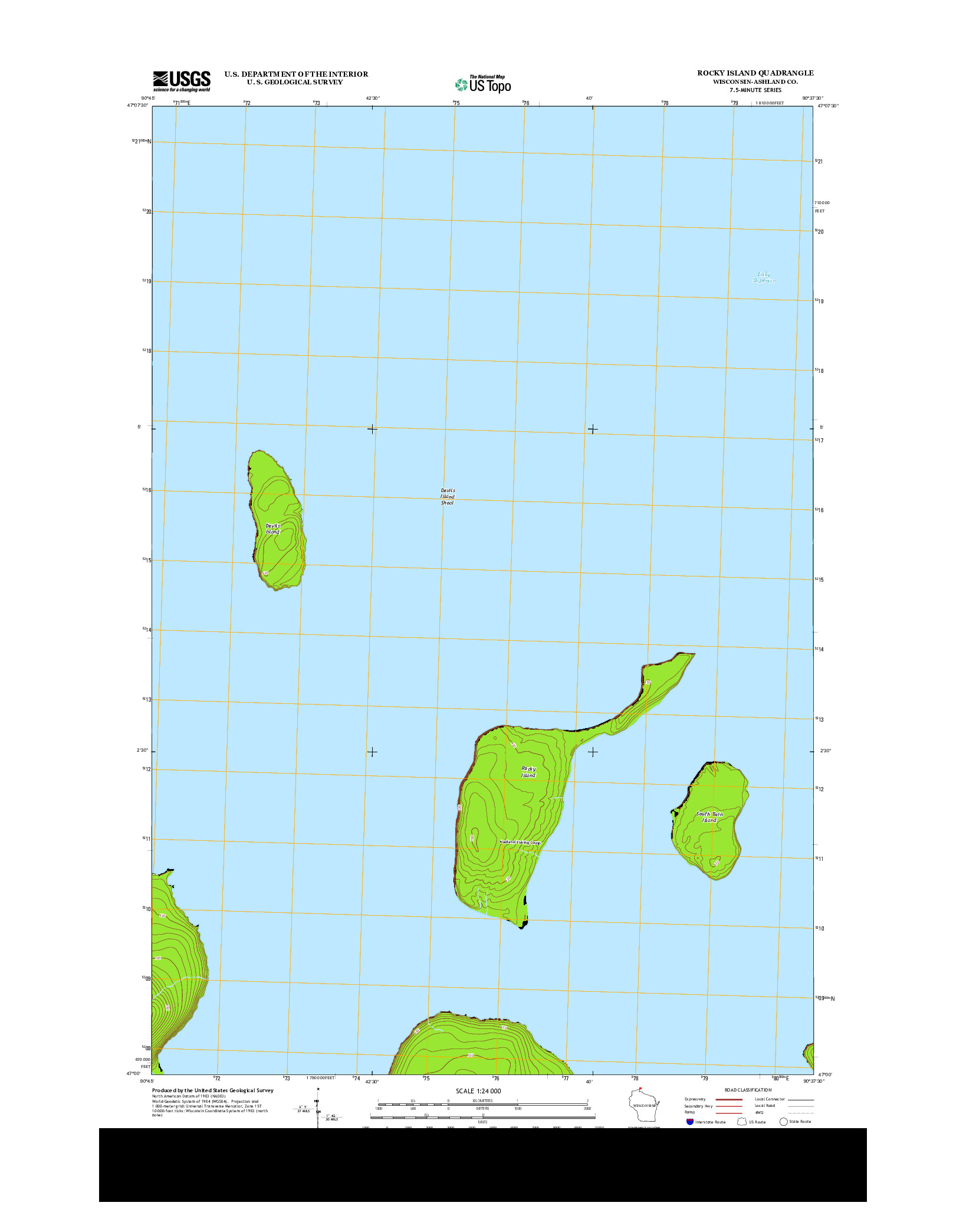 USGS US TOPO 7.5-MINUTE MAP FOR ROCKY ISLAND, WI 2013