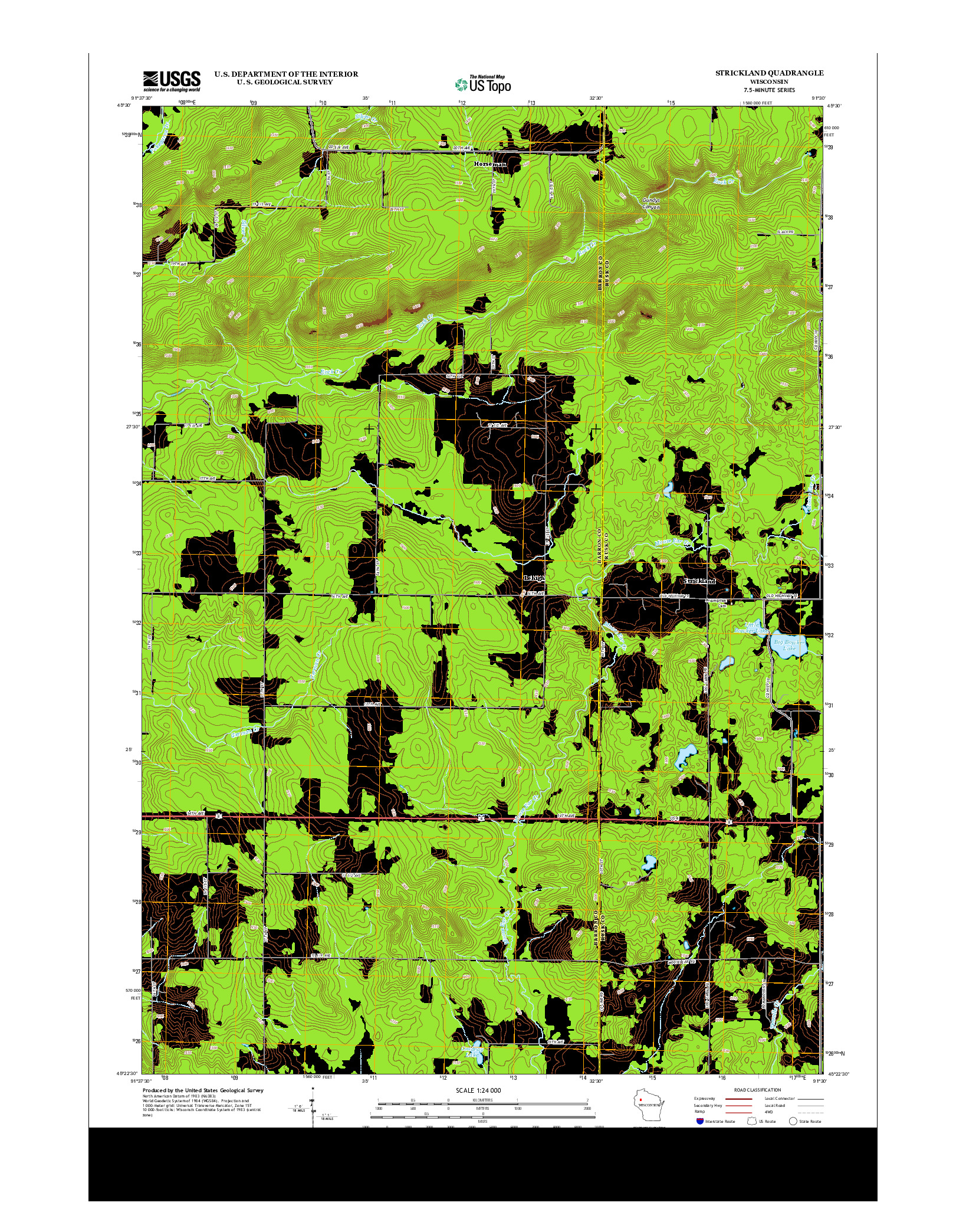 USGS US TOPO 7.5-MINUTE MAP FOR STRICKLAND, WI 2013