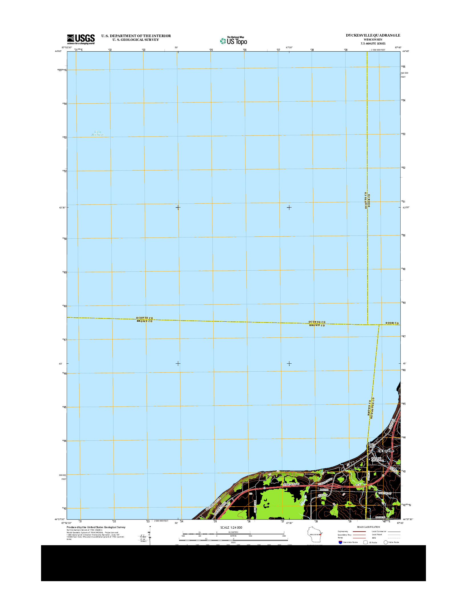 USGS US TOPO 7.5-MINUTE MAP FOR DYCKESVILLE, WI 2013