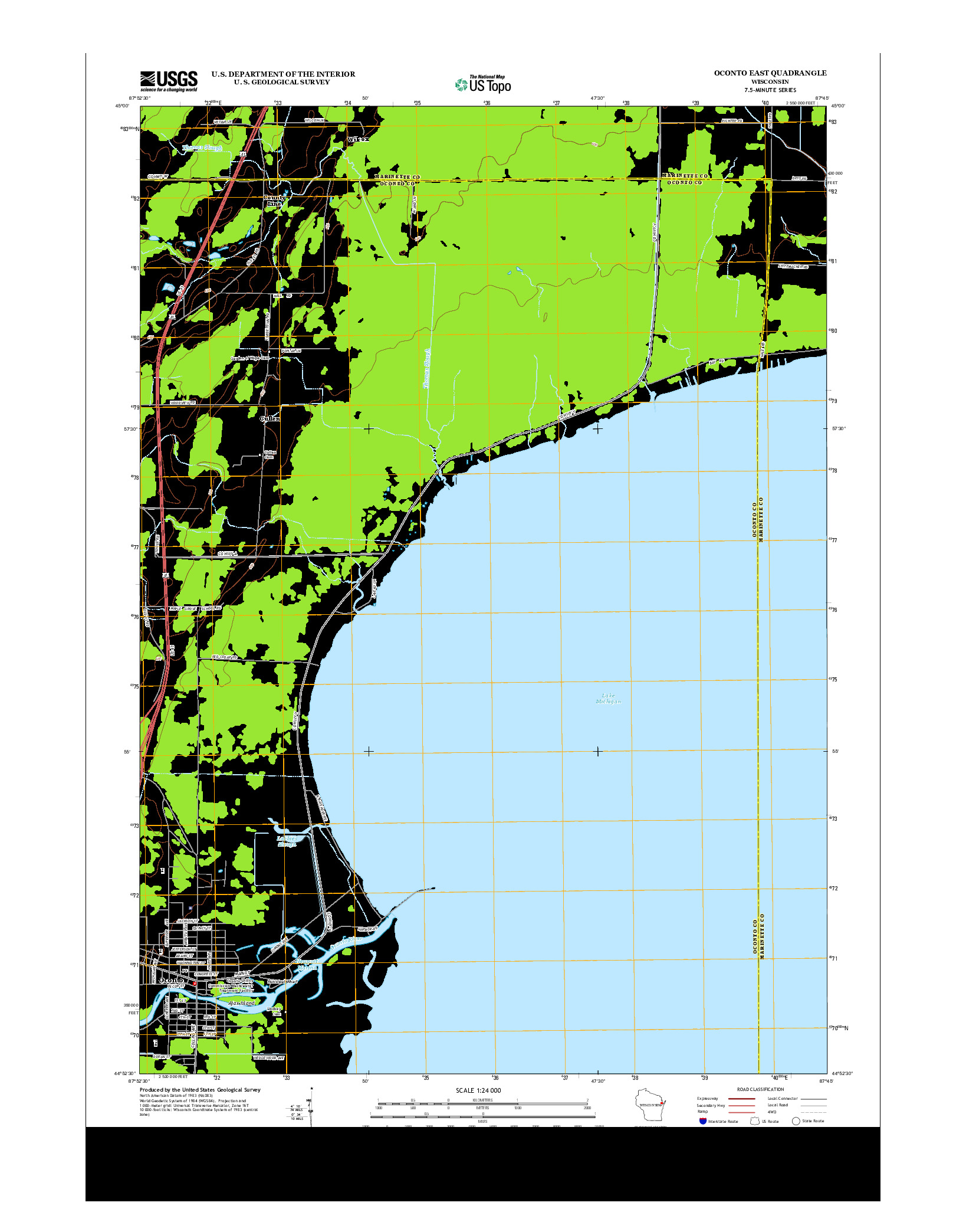 USGS US TOPO 7.5-MINUTE MAP FOR OCONTO EAST, WI 2013