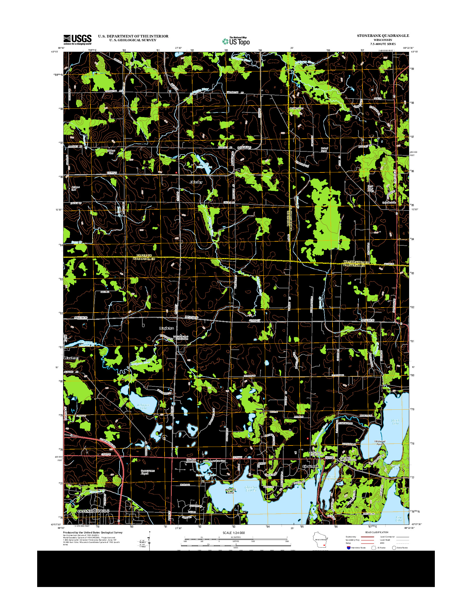 USGS US TOPO 7.5-MINUTE MAP FOR STONEBANK, WI 2013