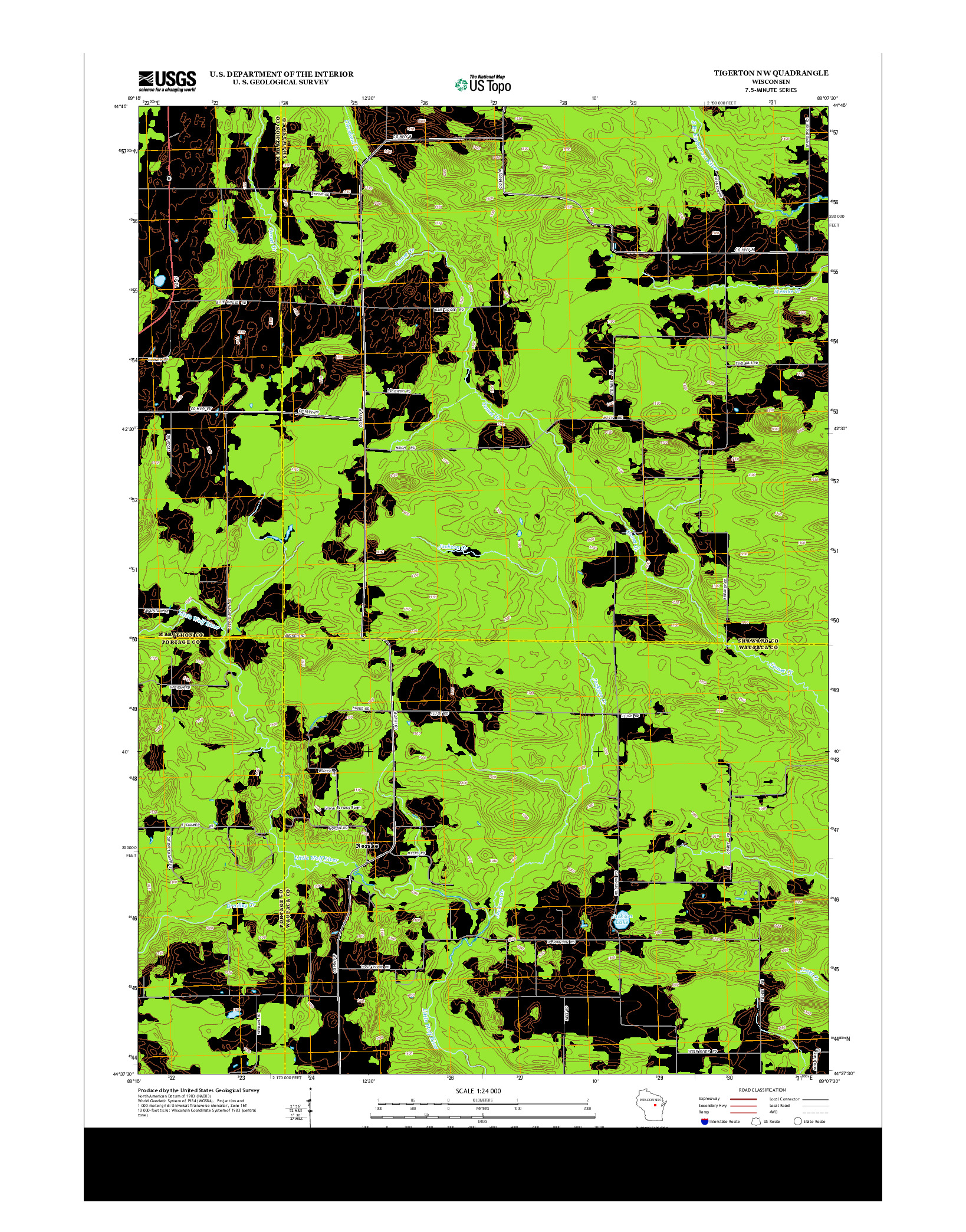 USGS US TOPO 7.5-MINUTE MAP FOR TIGERTON NW, WI 2013
