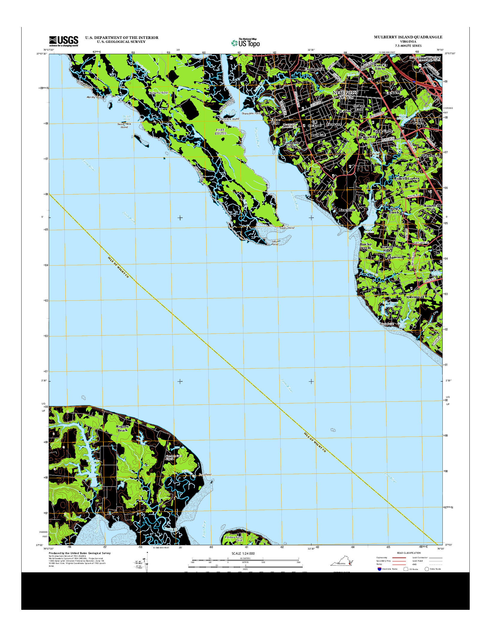 USGS US TOPO 7.5-MINUTE MAP FOR MULBERRY ISLAND, VA 2013