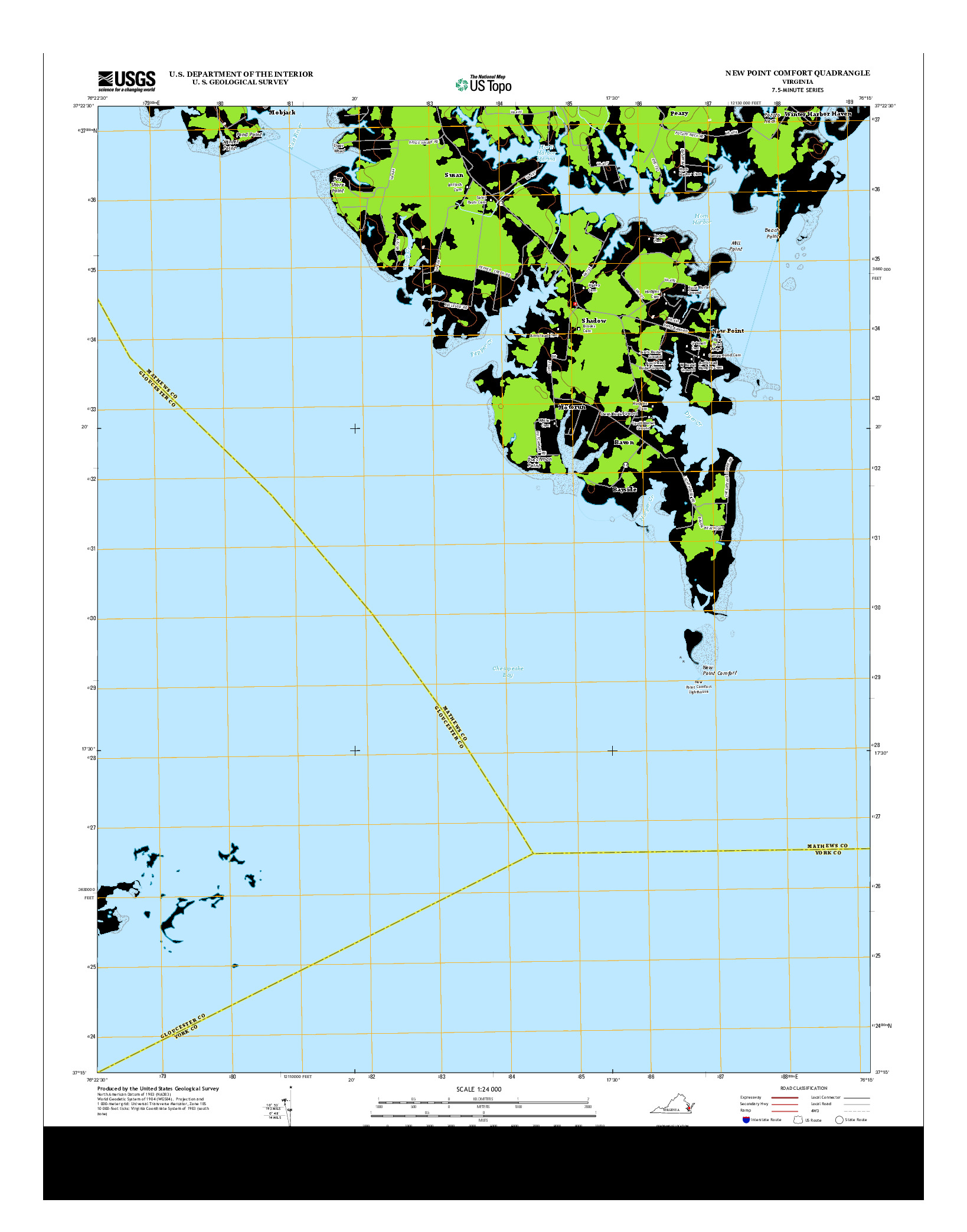 USGS US TOPO 7.5-MINUTE MAP FOR NEW POINT COMFORT, VA 2013
