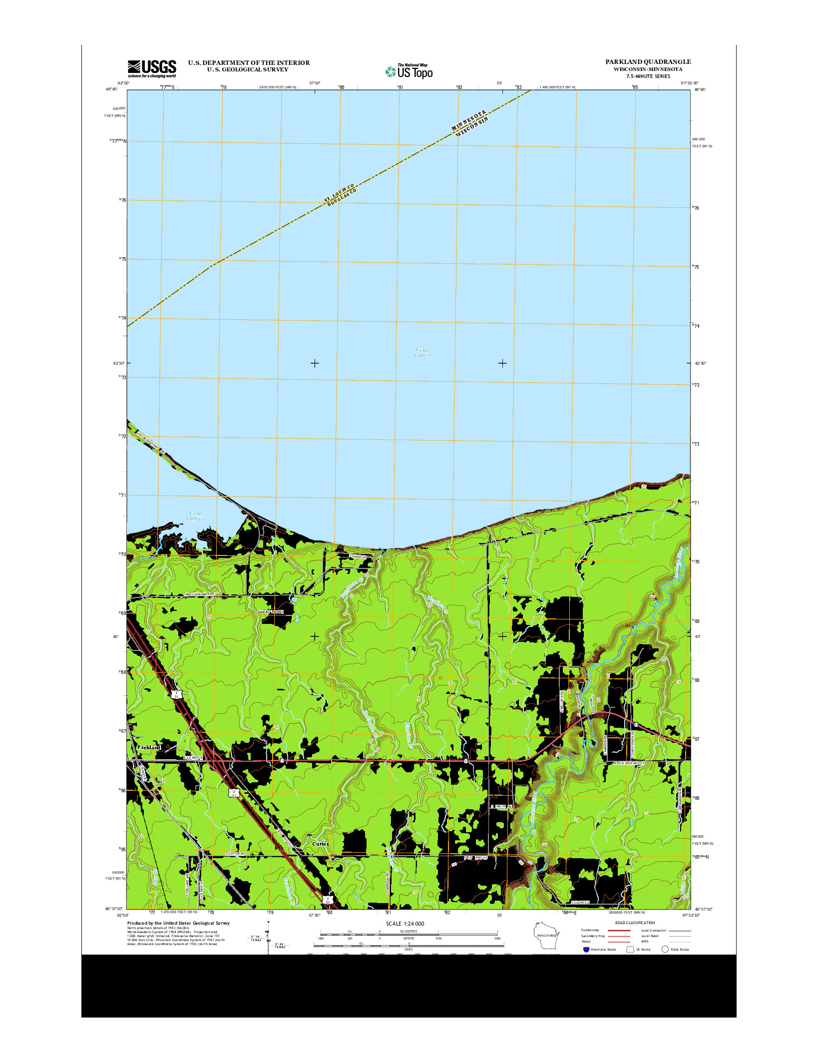 USGS US TOPO 7.5-MINUTE MAP FOR PARKLAND, WI-MN 2013