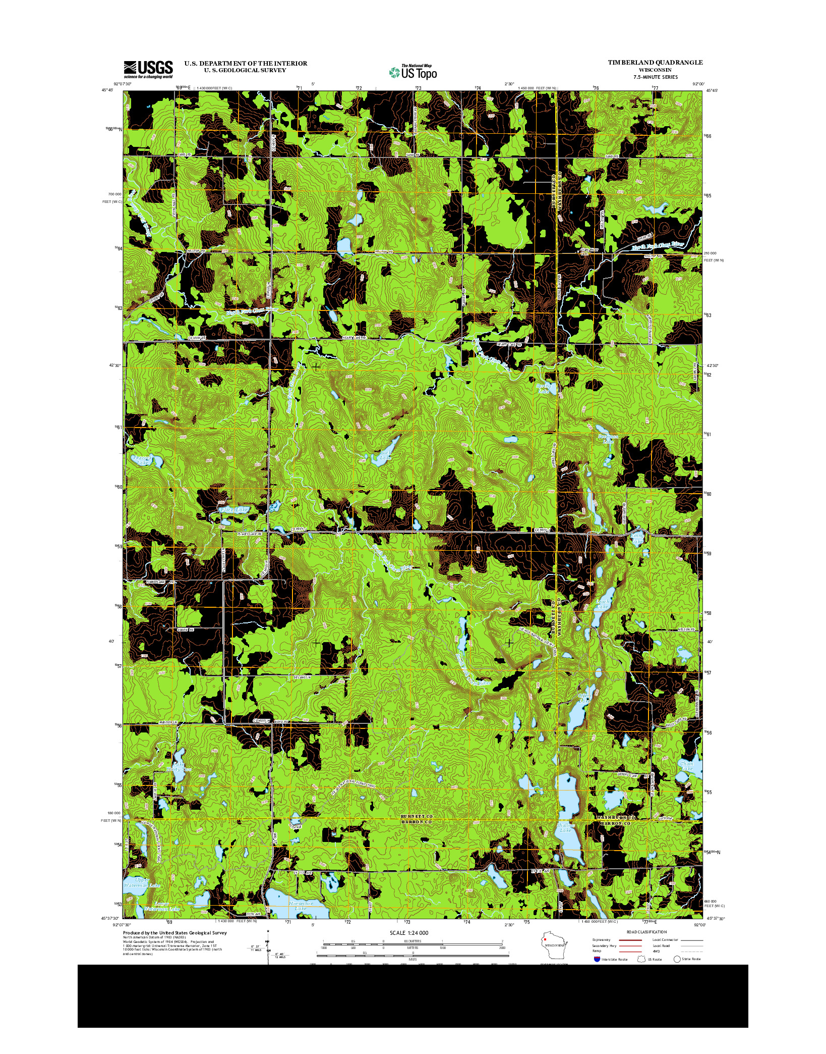 USGS US TOPO 7.5-MINUTE MAP FOR TIMBERLAND, WI 2013