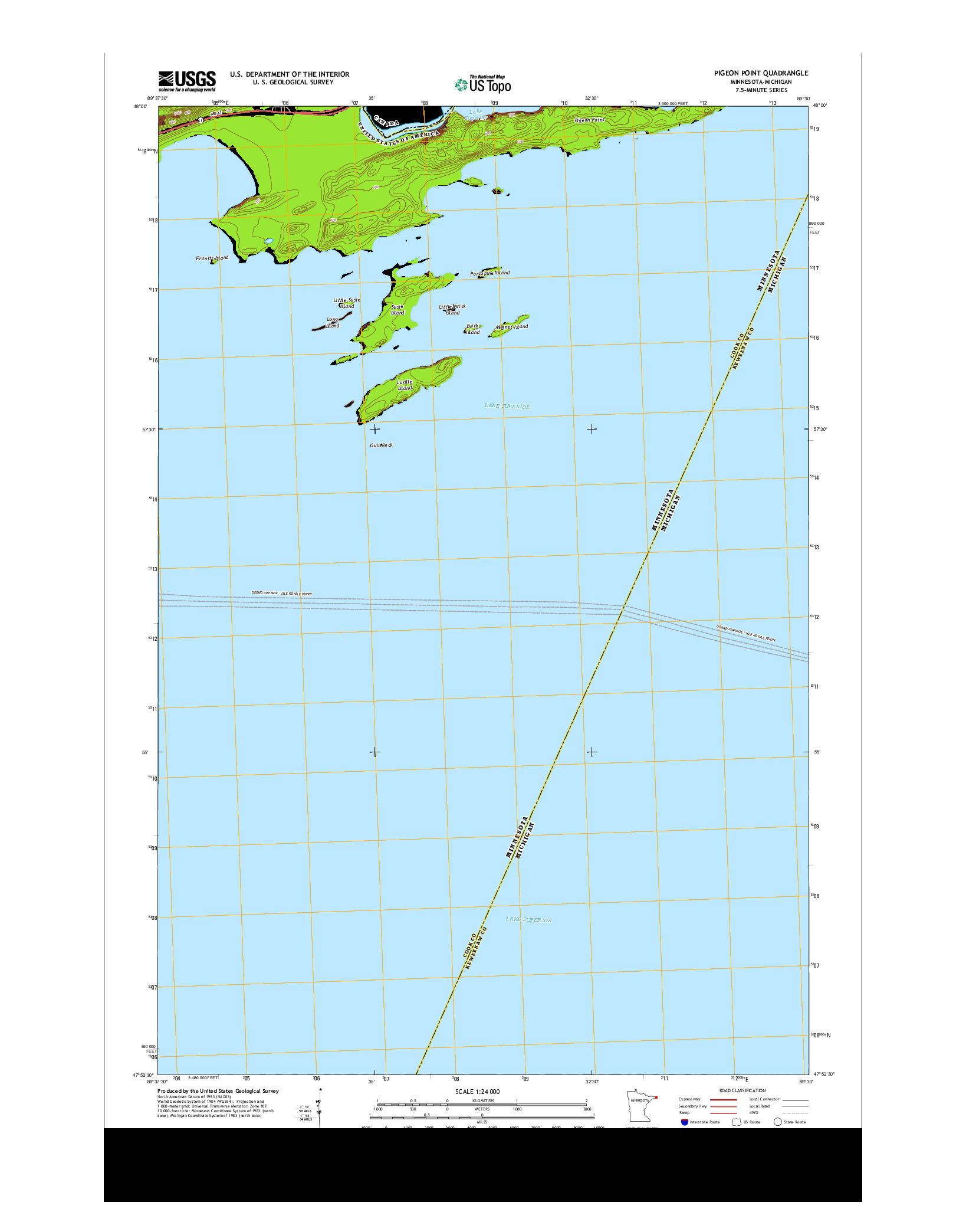 USGS US TOPO 7.5-MINUTE MAP FOR PIGEON POINT, MN-MI 2013