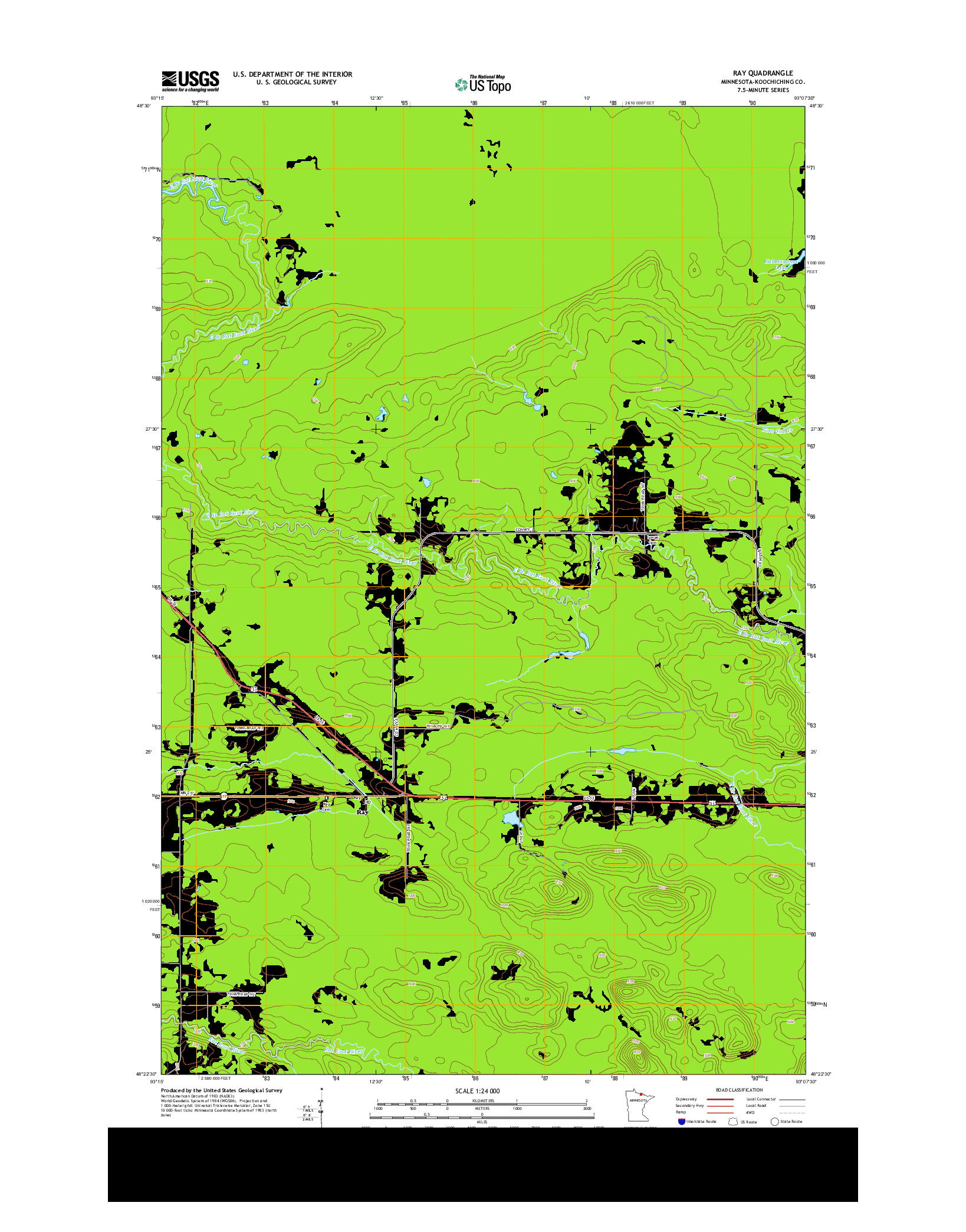 USGS US TOPO 7.5-MINUTE MAP FOR RAY, MN 2013