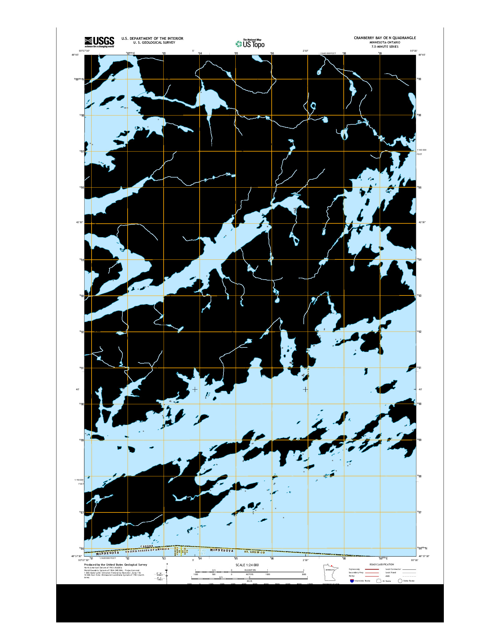 USGS US TOPO 7.5-MINUTE MAP FOR CRANBERRY BAY OE N, MN-ON 2013
