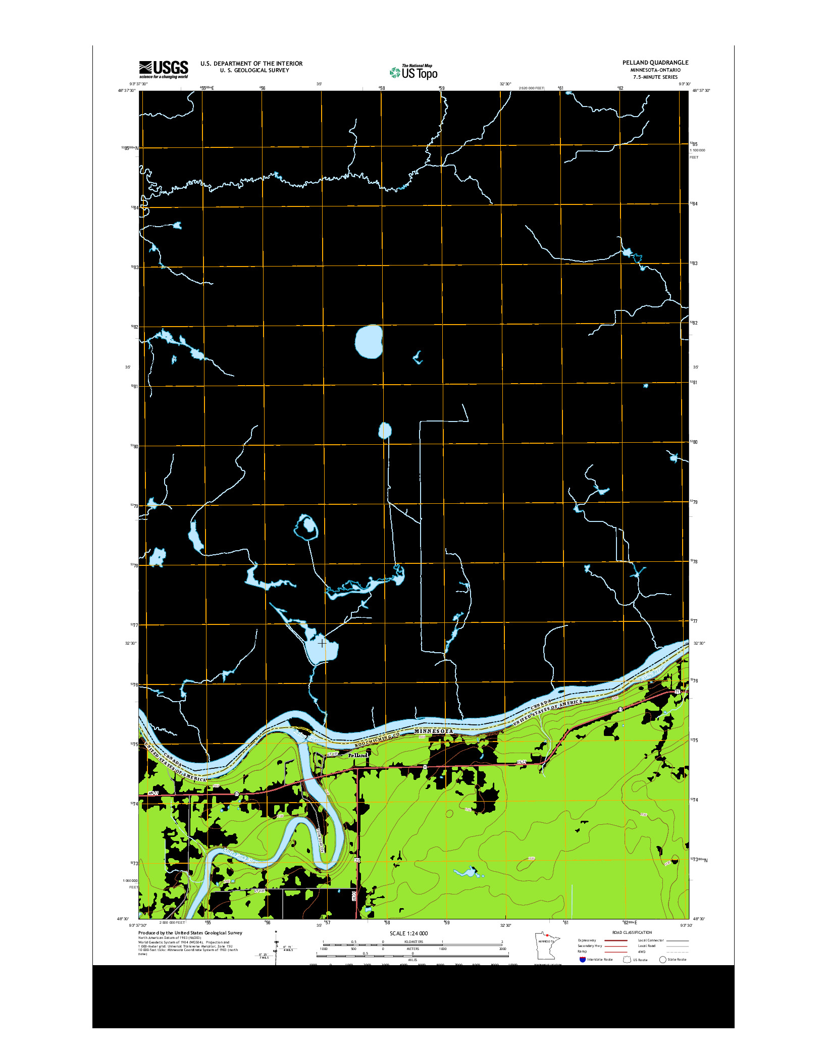 USGS US TOPO 7.5-MINUTE MAP FOR PELLAND, MN-ON 2013