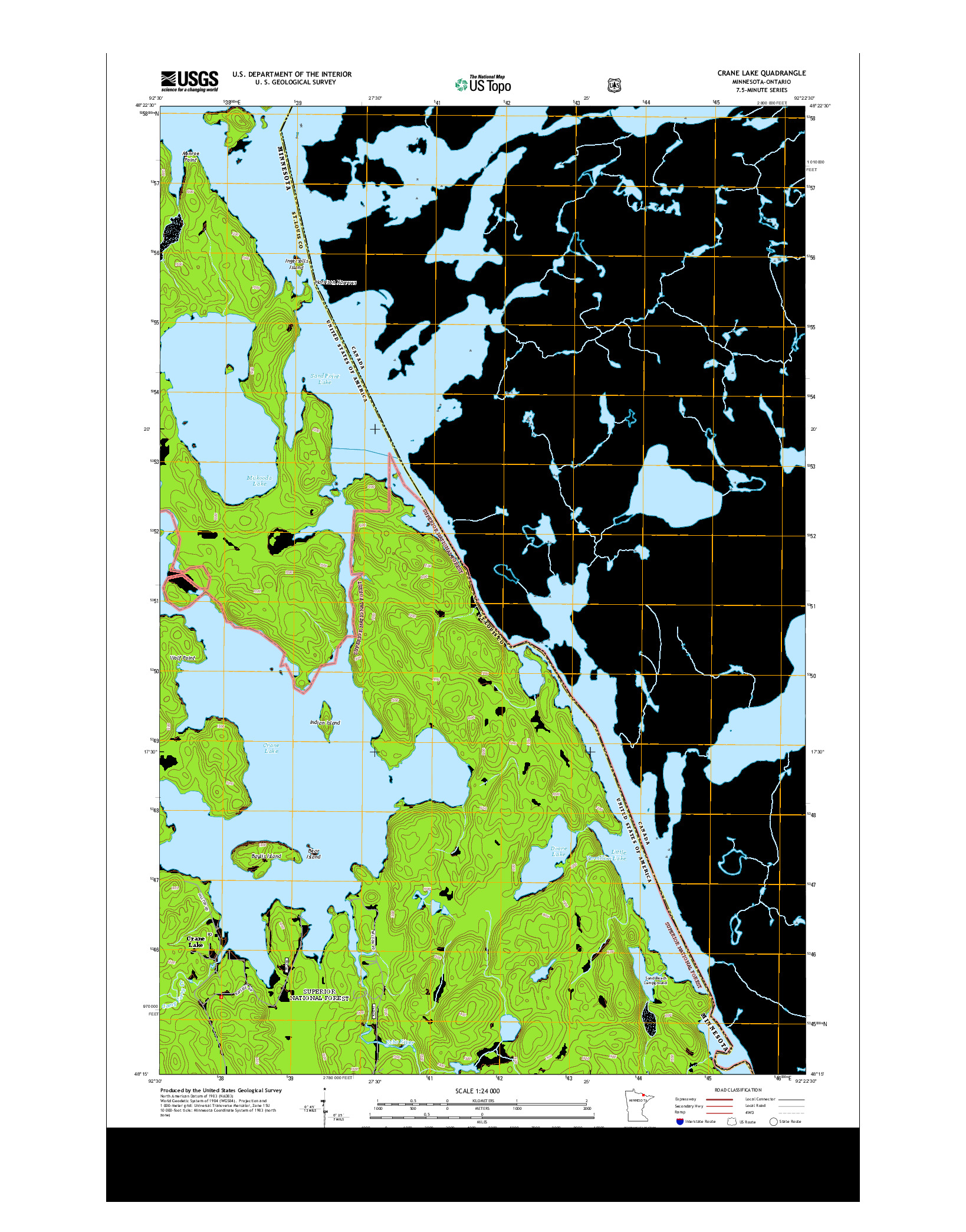 USGS US TOPO 7.5-MINUTE MAP FOR CRANE LAKE, MN-ON 2013