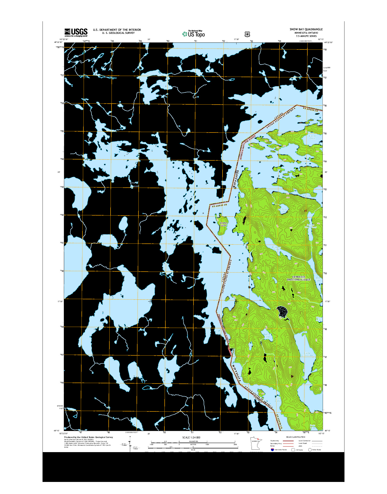 USGS US TOPO 7.5-MINUTE MAP FOR SNOW BAY, MN-ON 2013