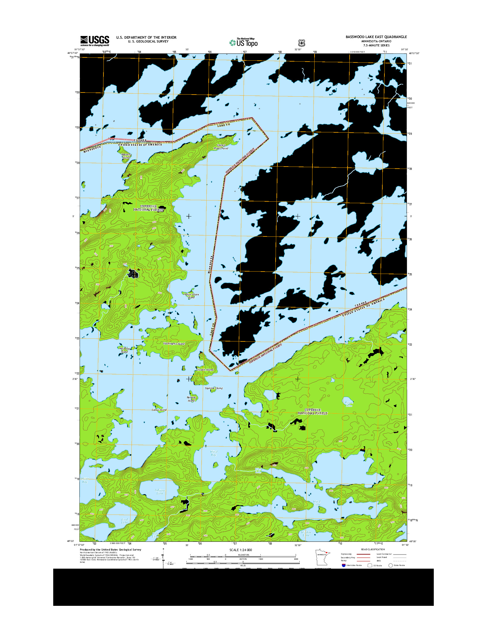 USGS US TOPO 7.5-MINUTE MAP FOR BASSWOOD LAKE EAST, MN-ON 2013