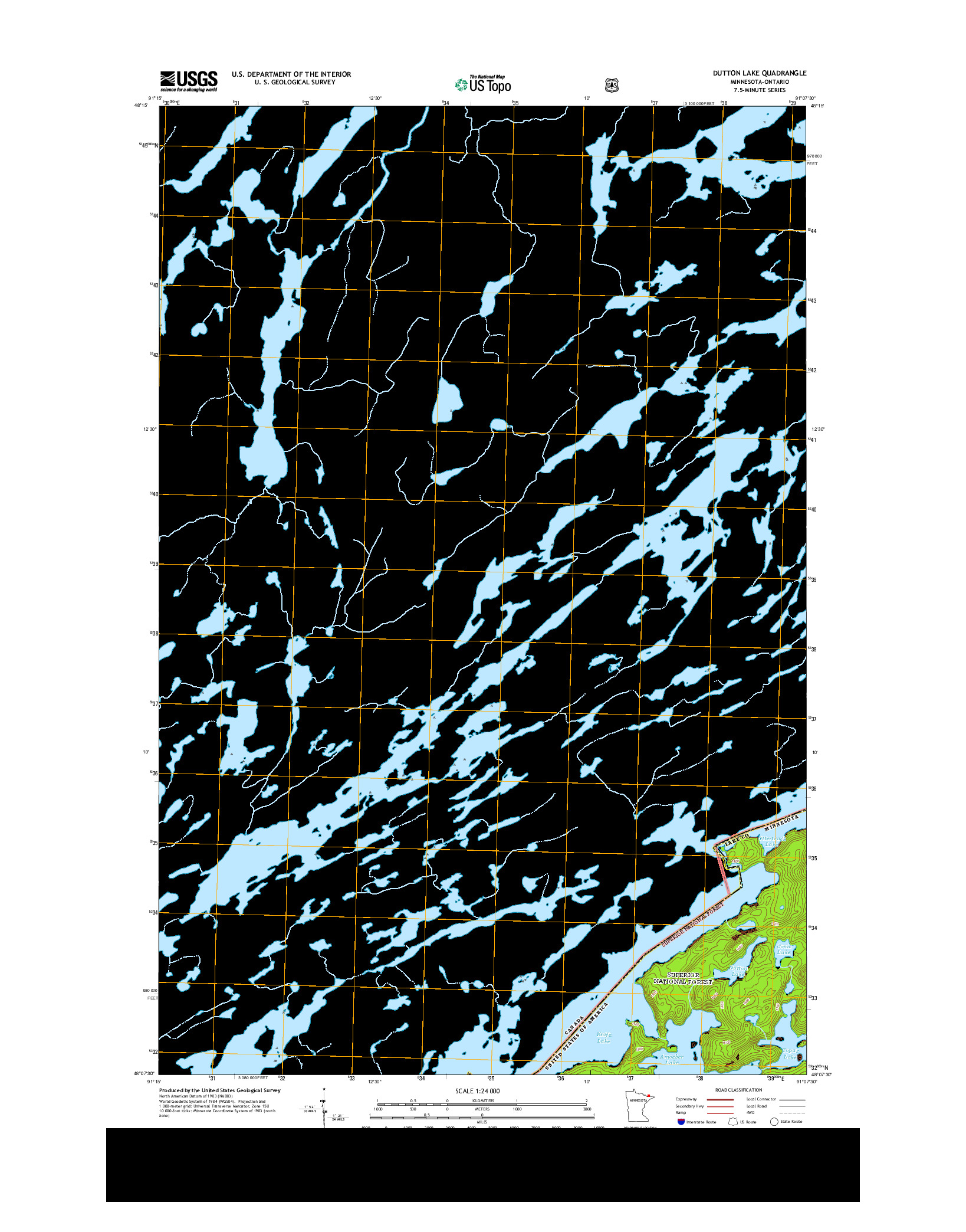 USGS US TOPO 7.5-MINUTE MAP FOR DUTTON LAKE, MN-ON 2013