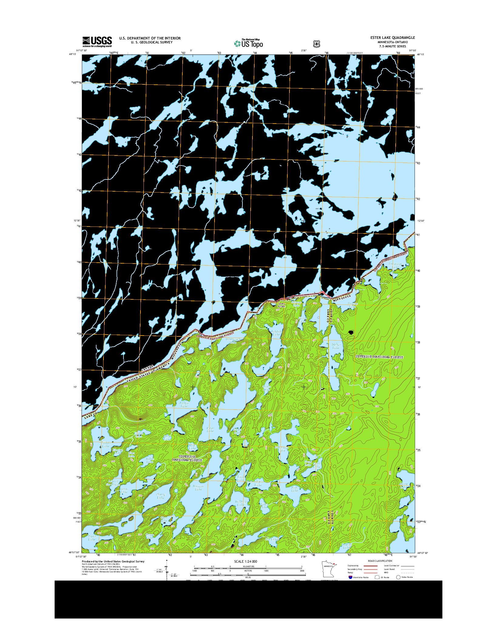 USGS US TOPO 7.5-MINUTE MAP FOR ESTER LAKE, MN-ON 2013