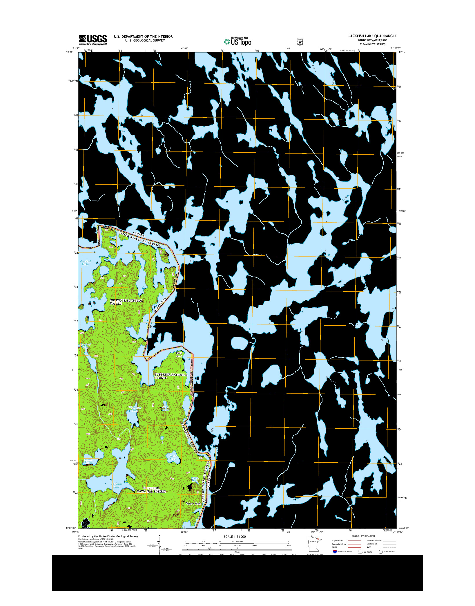 USGS US TOPO 7.5-MINUTE MAP FOR JACKFISH LAKE, MN-ON 2013