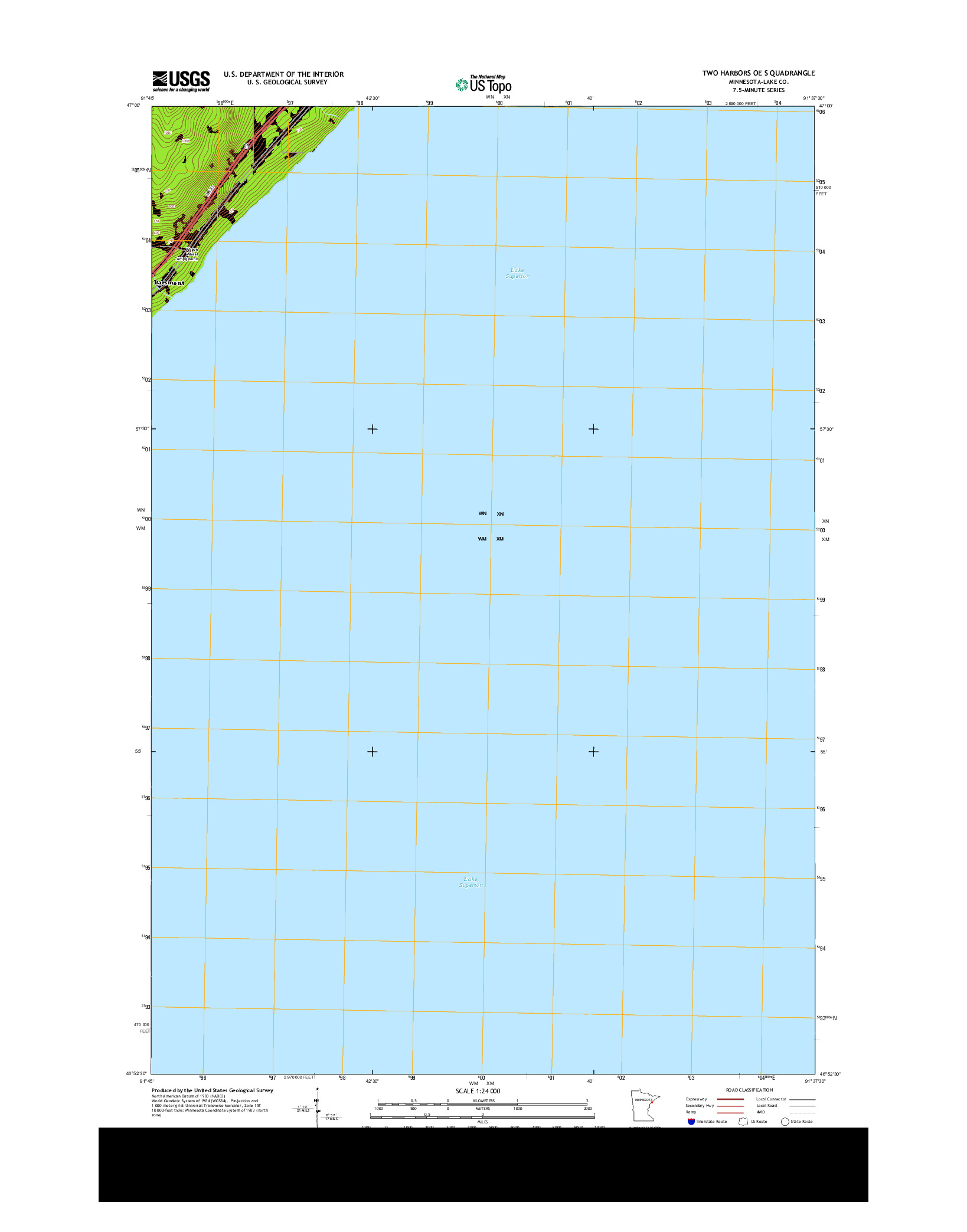 USGS US TOPO 7.5-MINUTE MAP FOR TWO HARBORS OE S, MN 2013