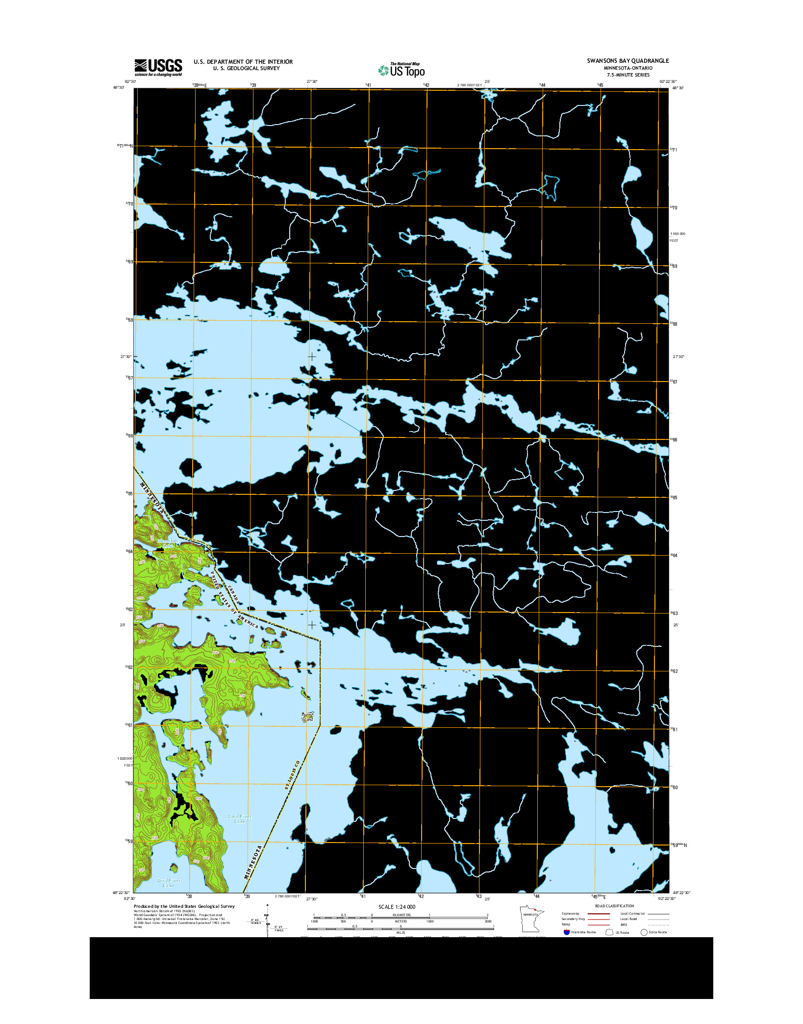 USGS US TOPO 7.5-MINUTE MAP FOR SWANSONS BAY, MN-ON 2013