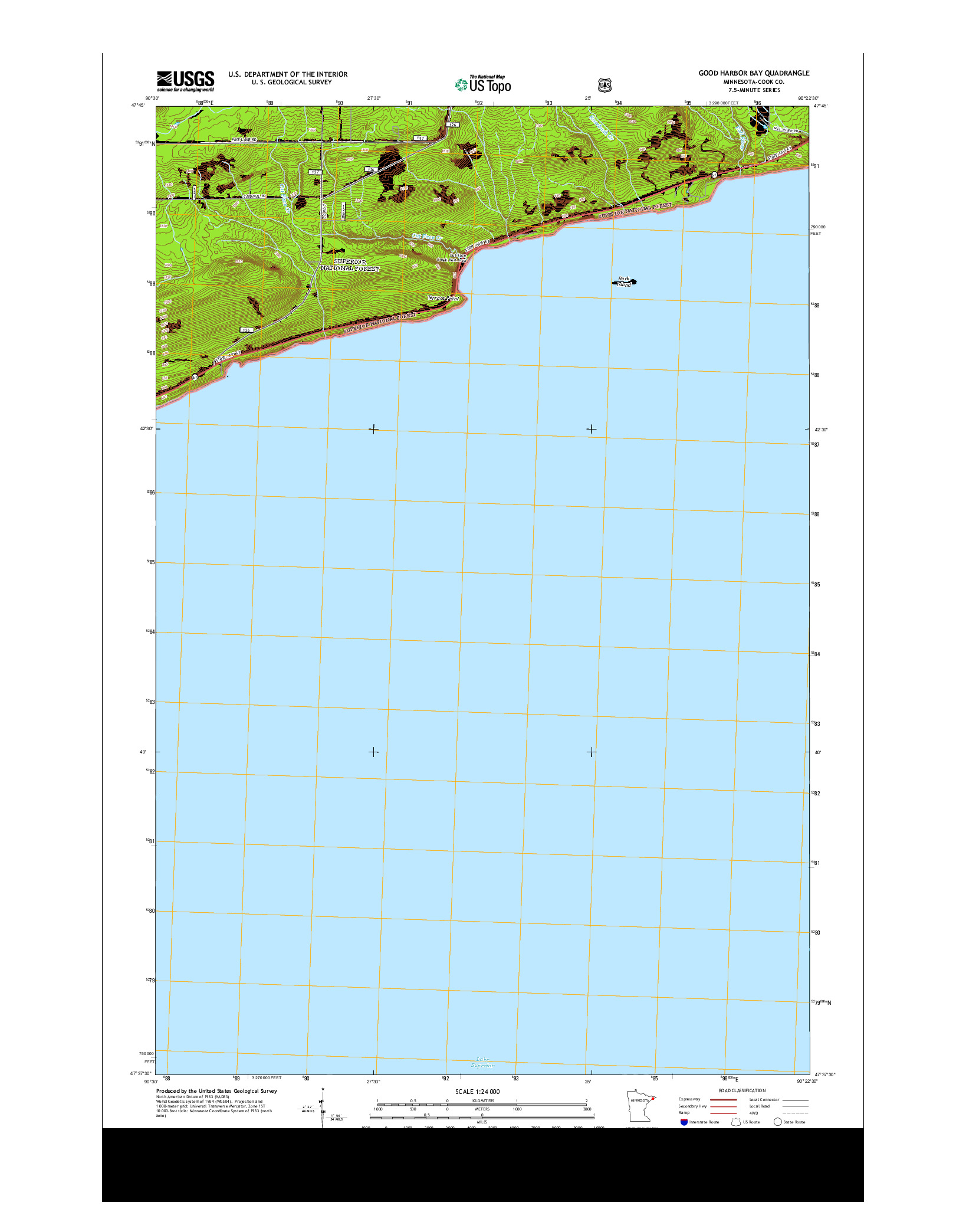 USGS US TOPO 7.5-MINUTE MAP FOR GOOD HARBOR BAY, MN 2013