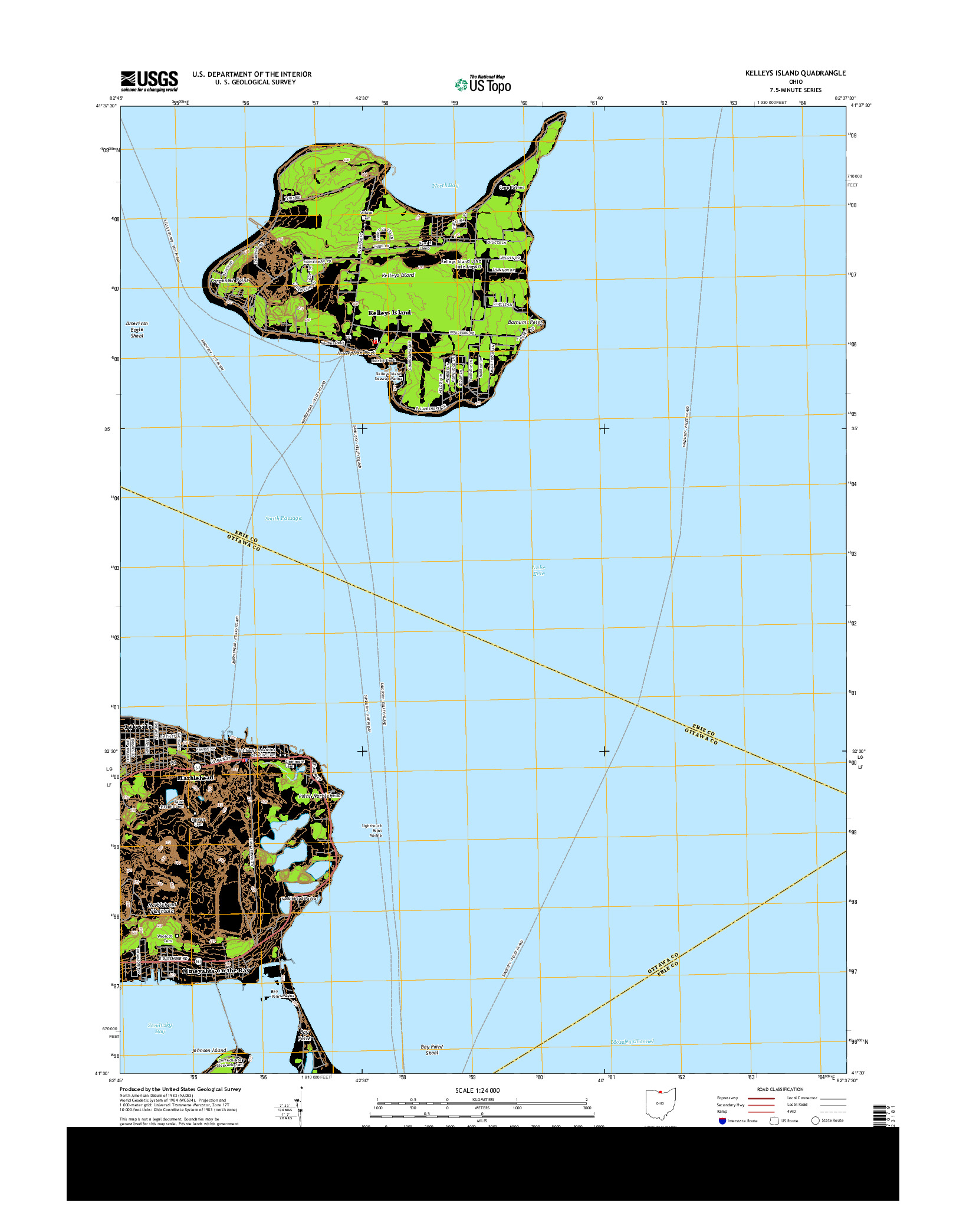 USGS US TOPO 7.5-MINUTE MAP FOR KELLEYS ISLAND, OH 2013