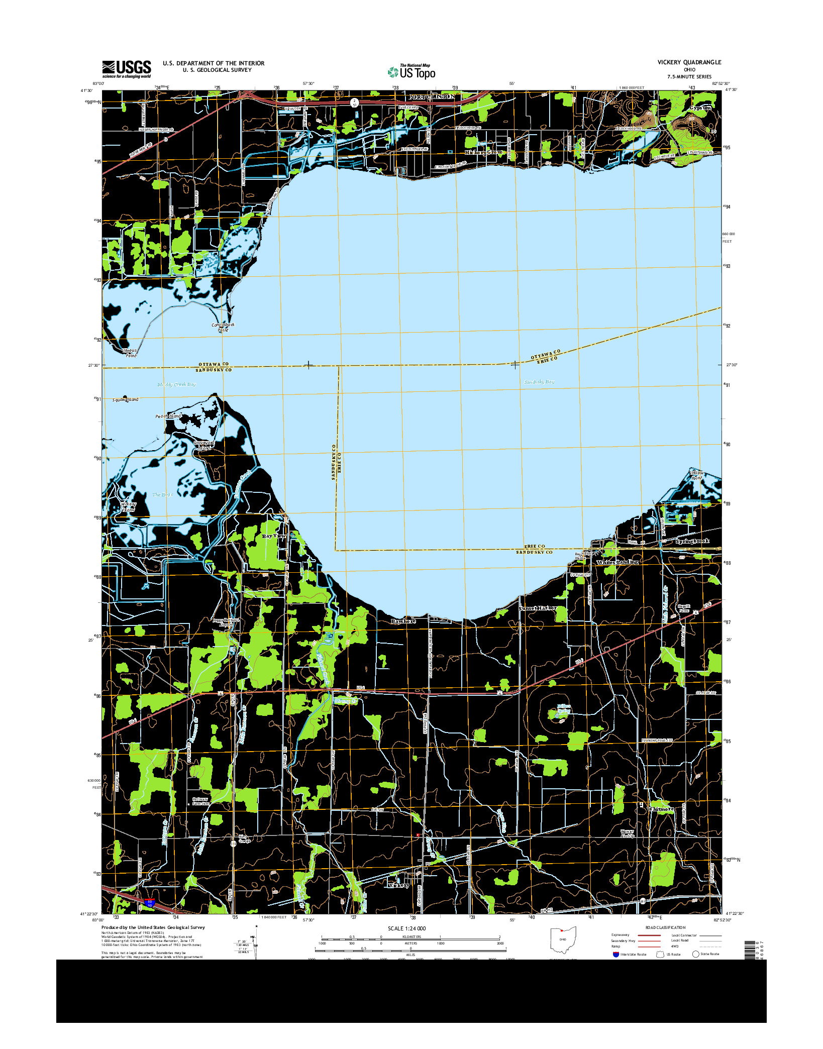 USGS US TOPO 7.5-MINUTE MAP FOR VICKERY, OH 2013