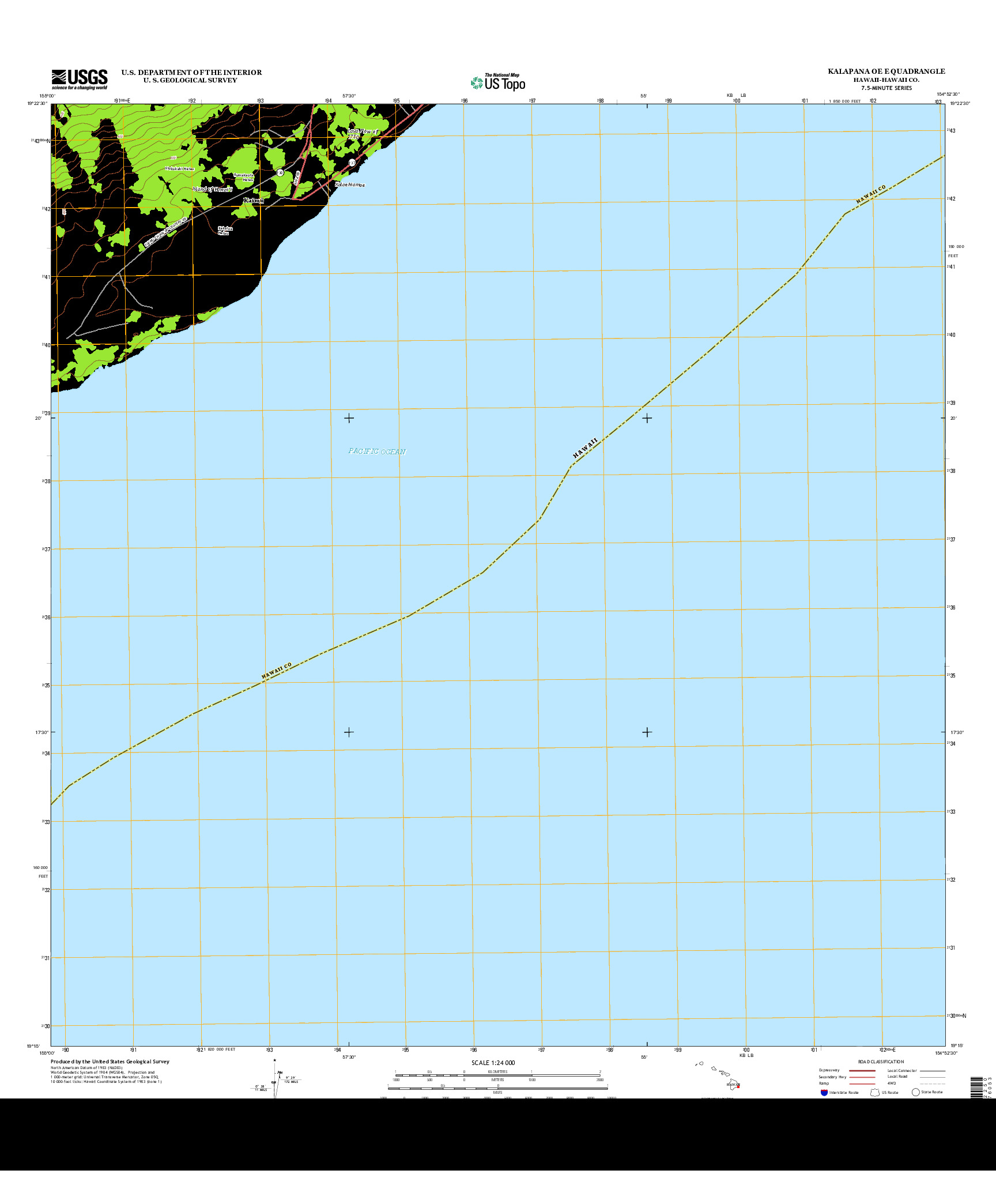 USGS US TOPO 7.5-MINUTE MAP FOR KALAPANA OE E, HI 2013
