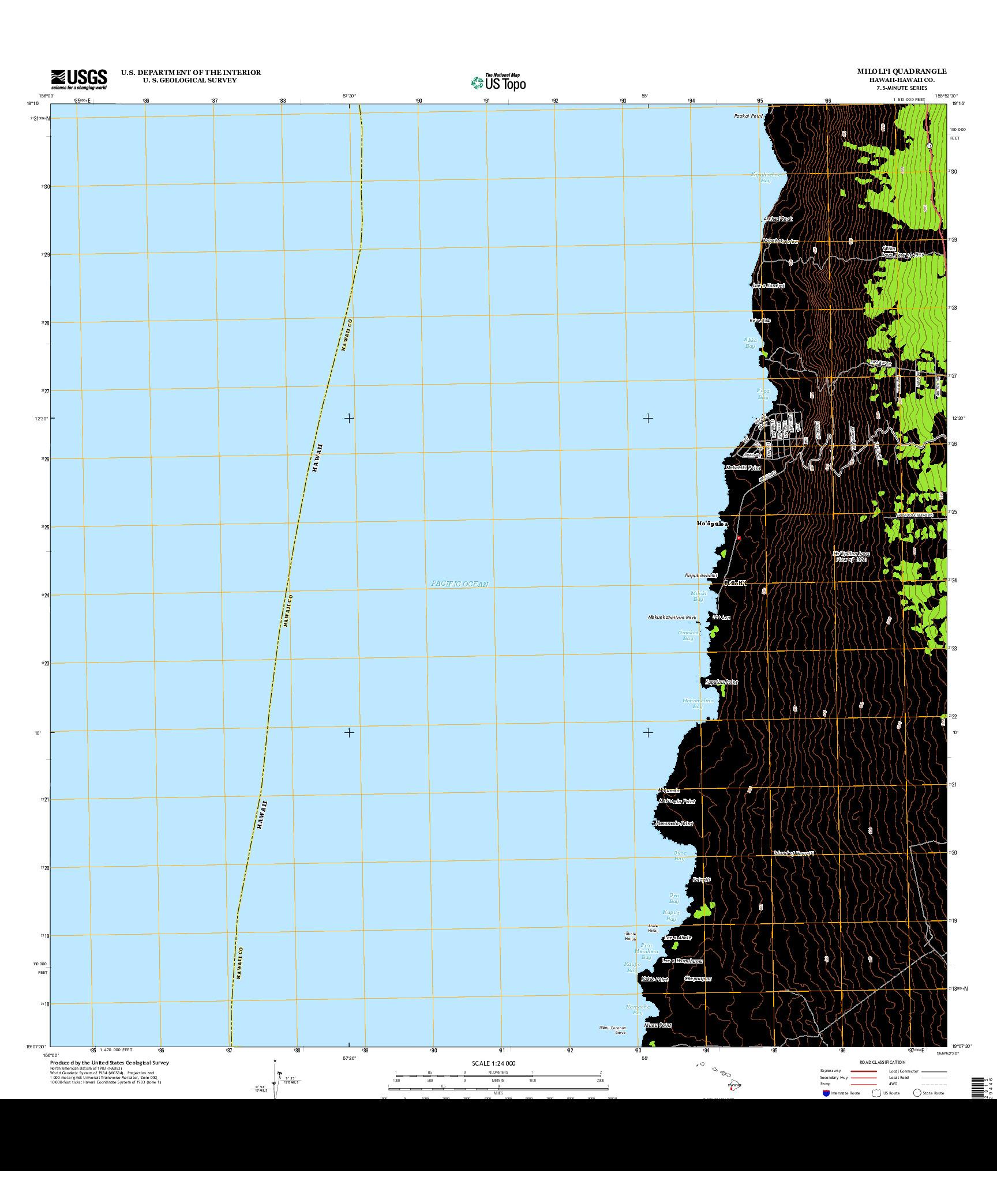 USGS US TOPO 7.5-MINUTE MAP FOR MILOLI`I, HI 2013