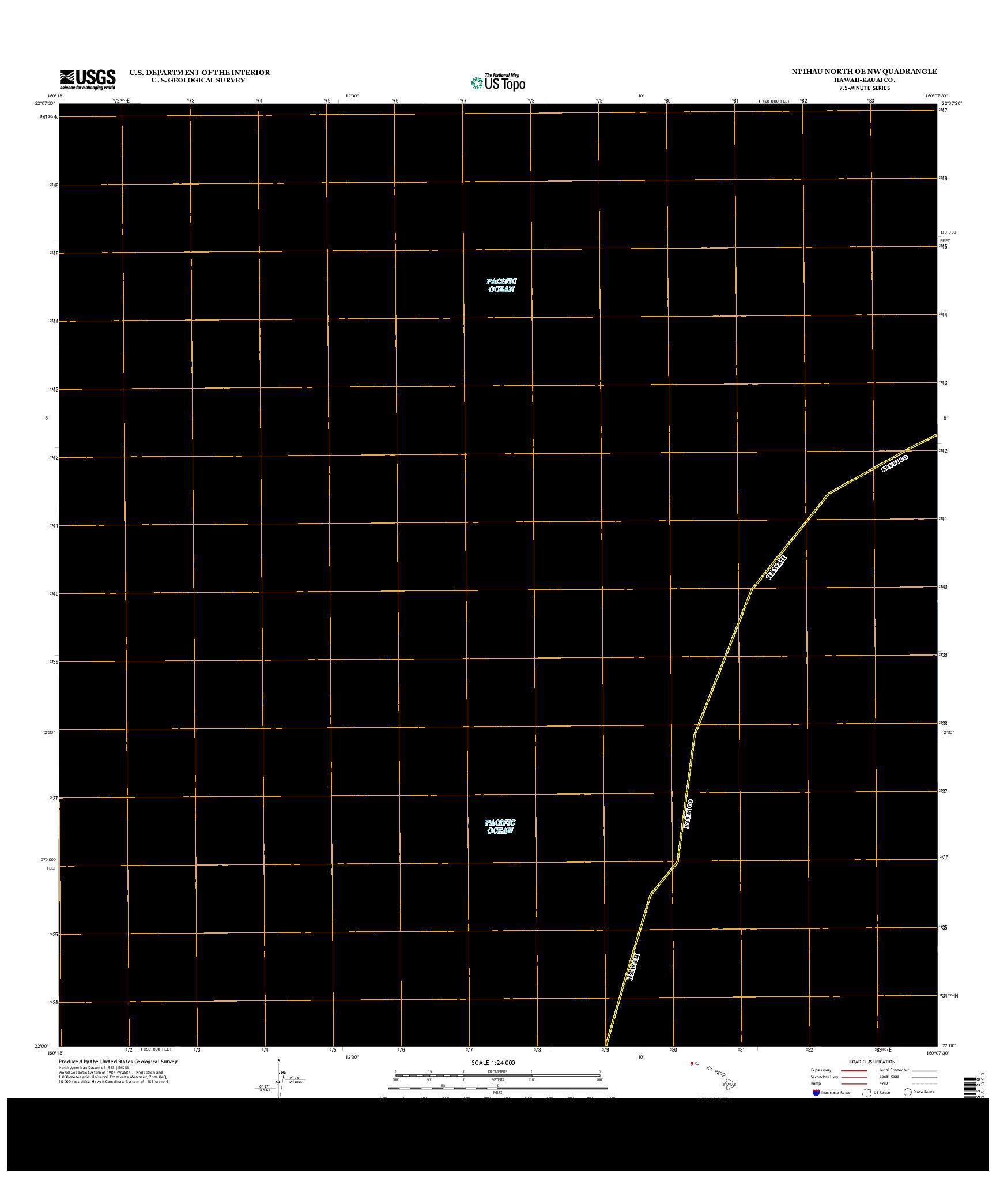 USGS US TOPO 7.5-MINUTE MAP FOR NI`IHAU NORTH OE NW, HI 2013